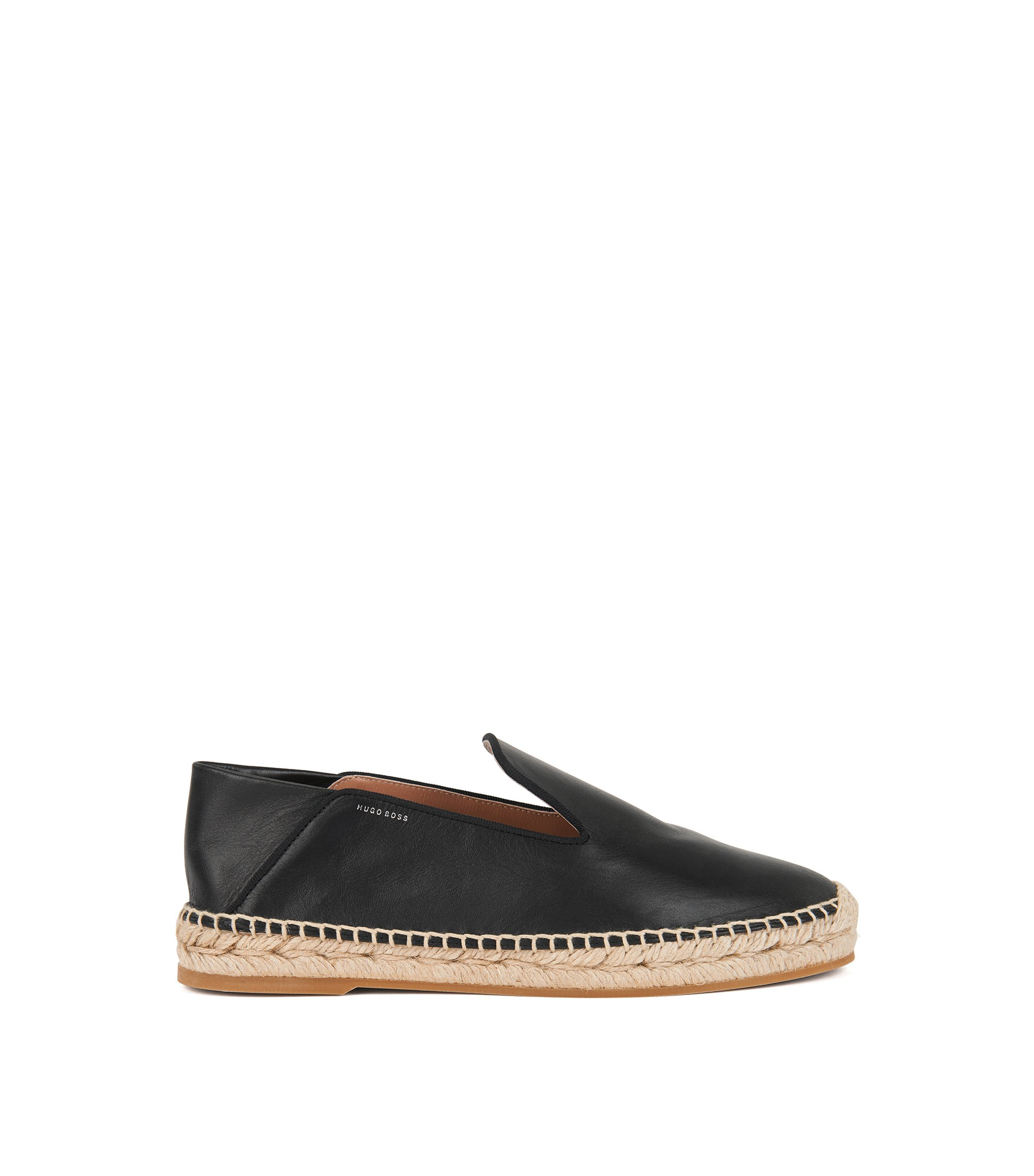 Leather espadrilles with fold-down heel, Black