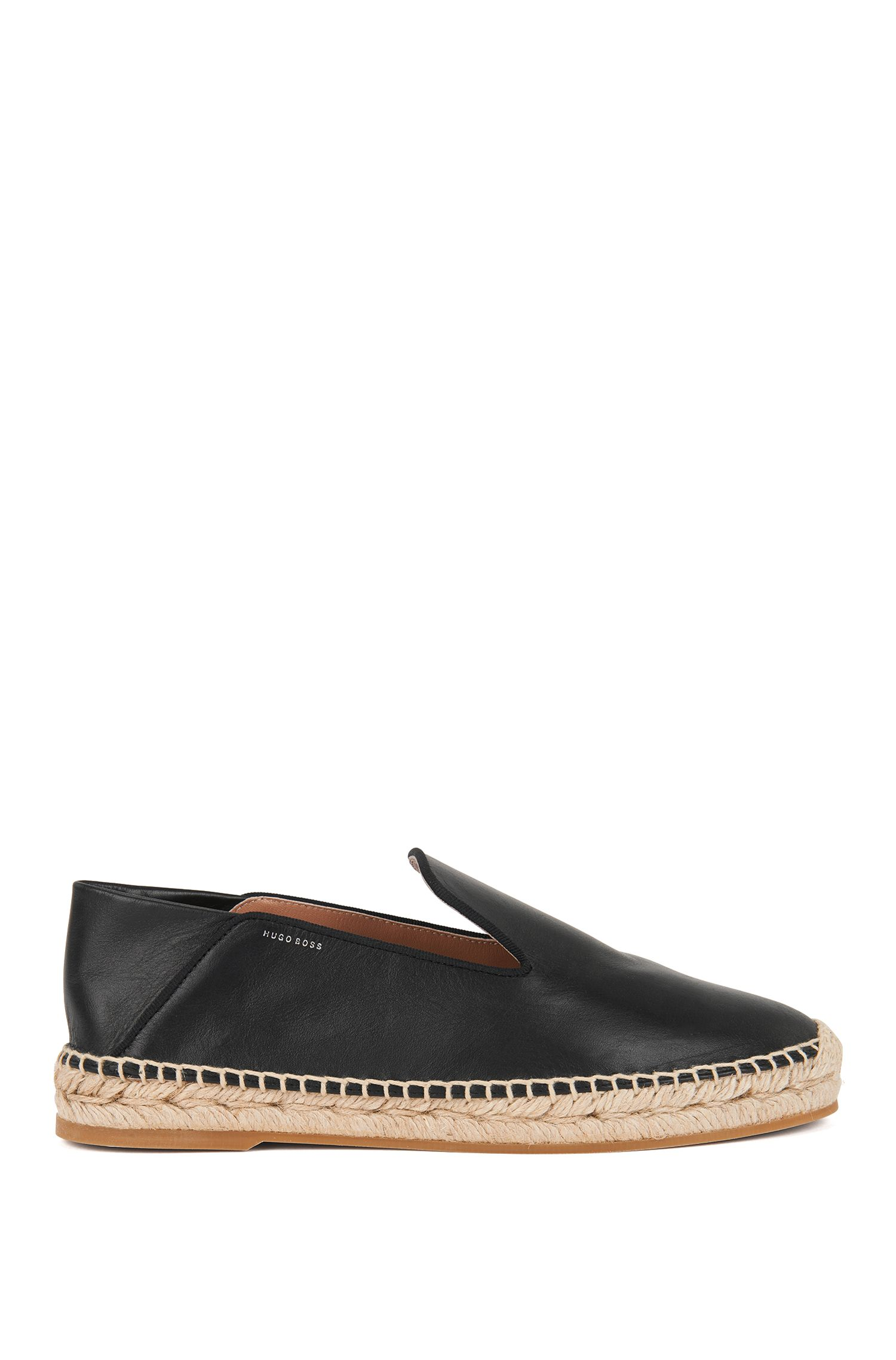 Leather espadrilles with fold-down heel