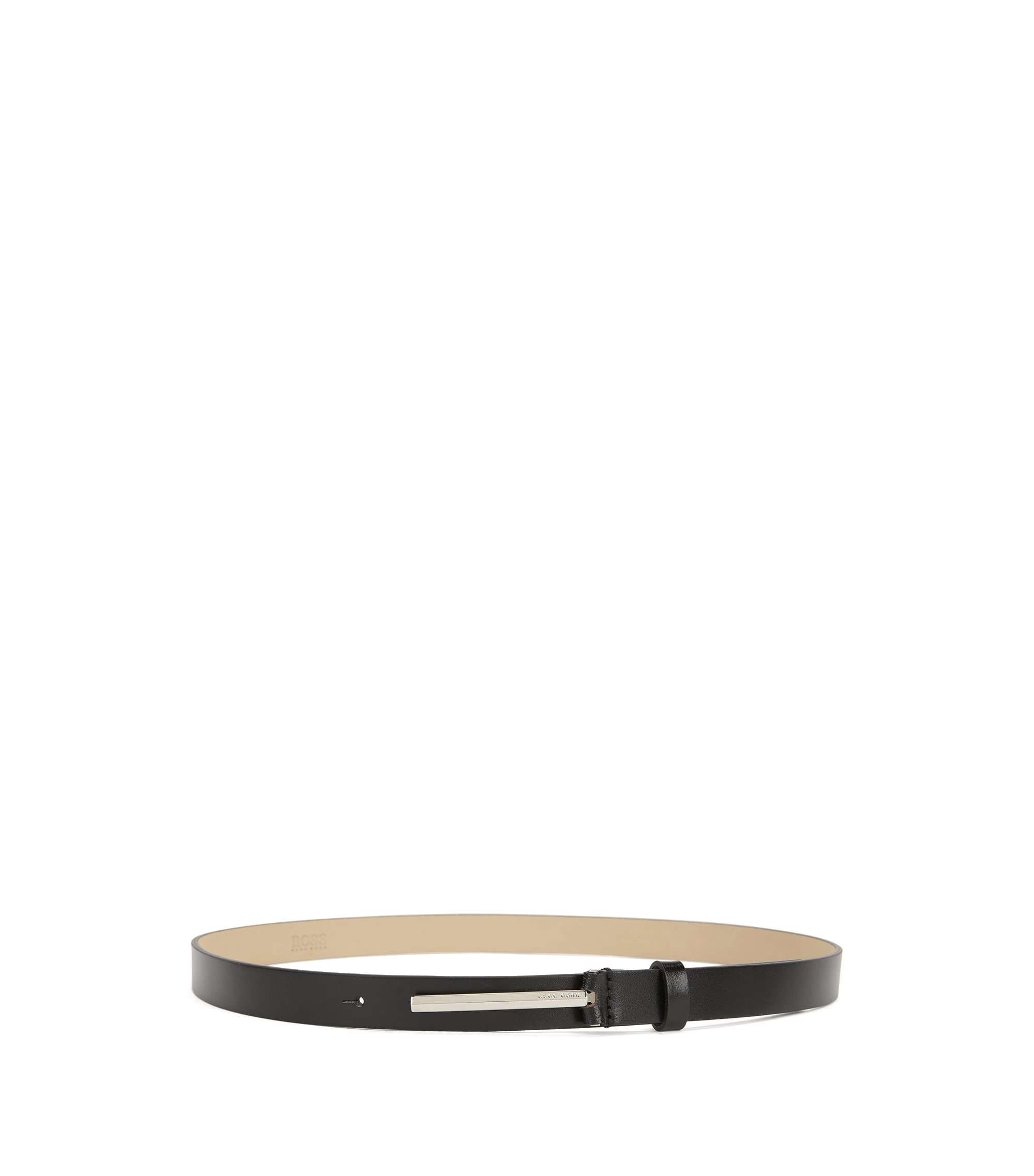 Italian-leather belt with signature pin closure, Black