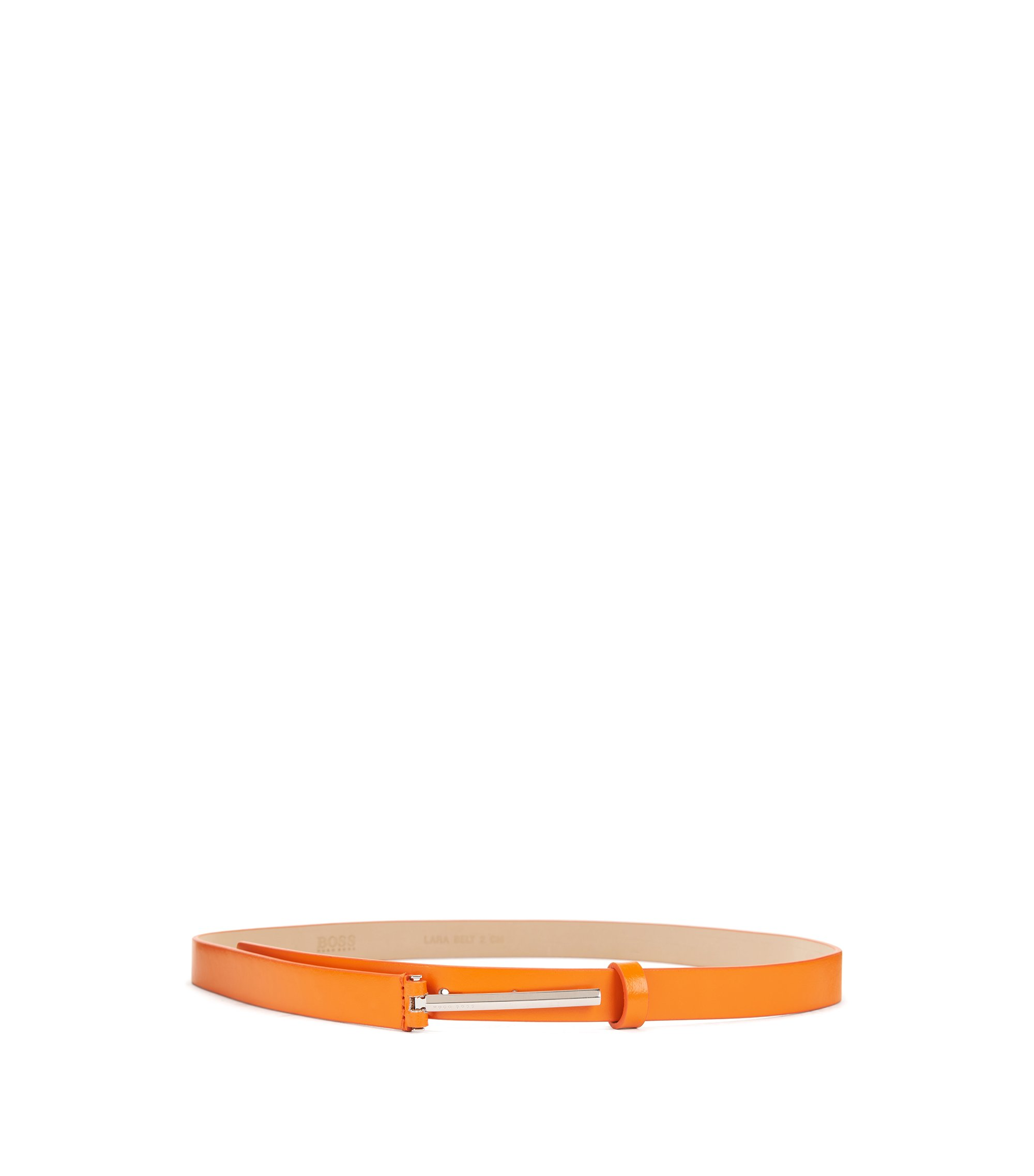Italian-leather belt with signature pin closure, Orange