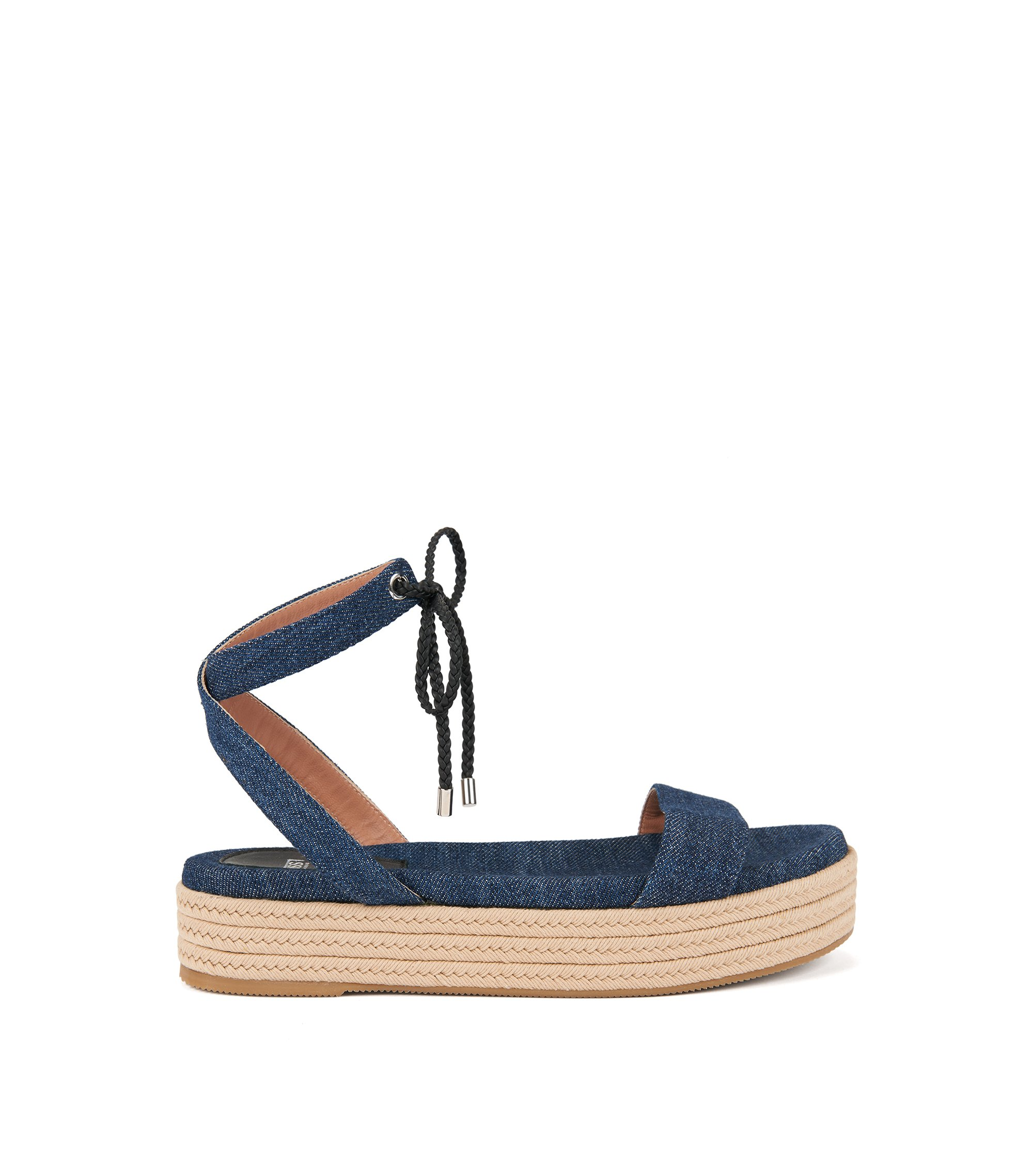 Sandali con zeppa in morbido denim, Blu