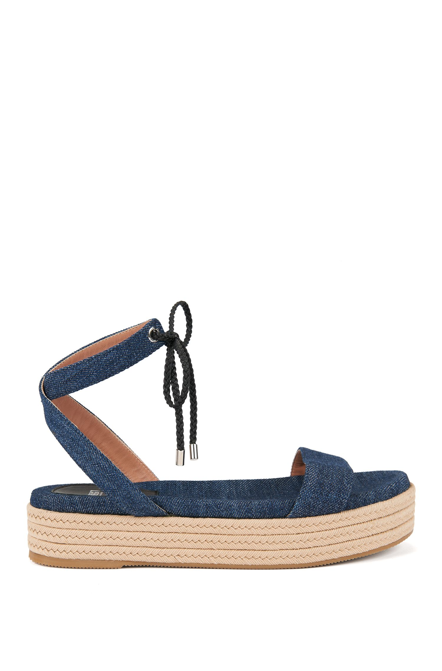 Sandali con zeppa in morbido denim