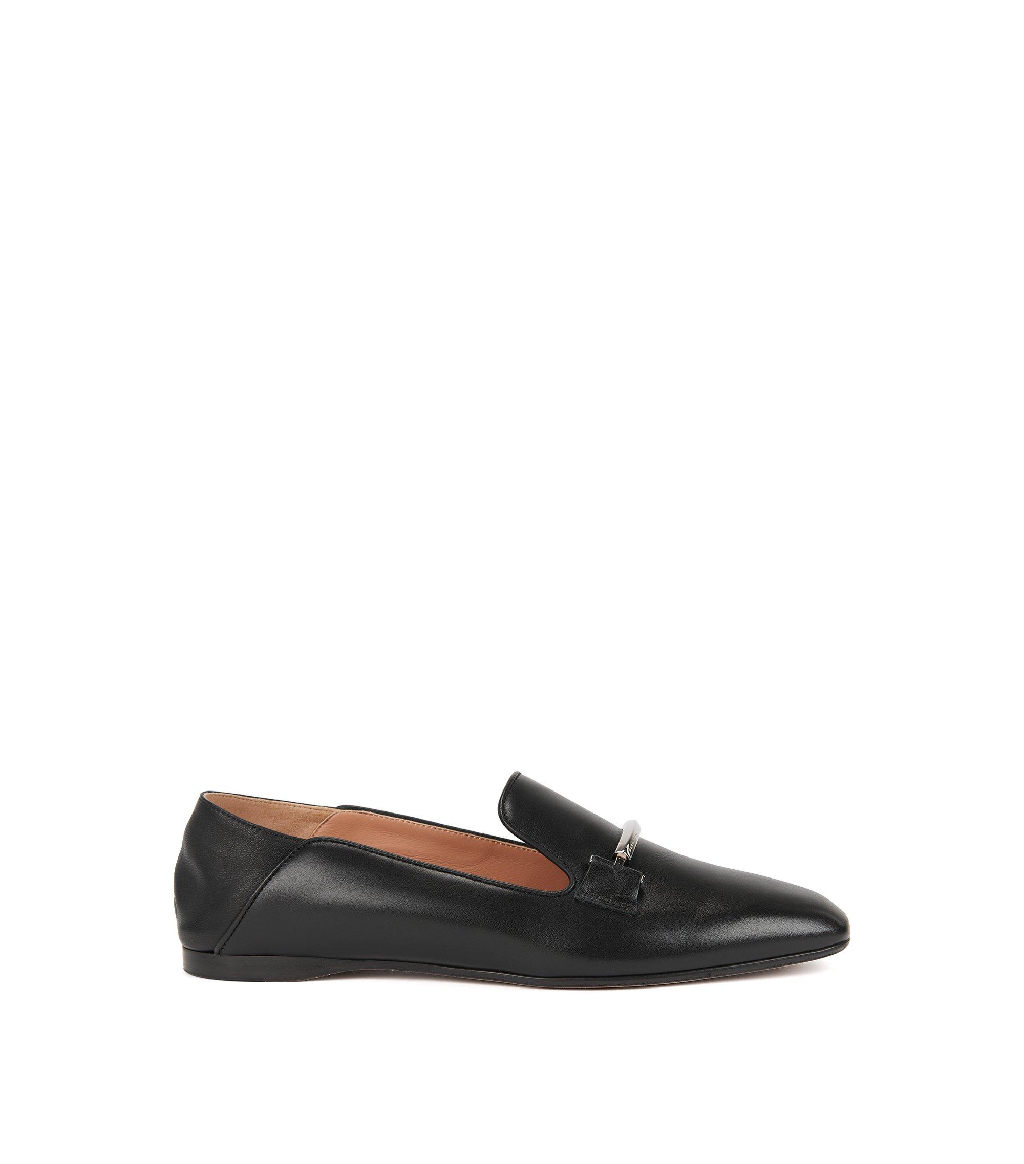 Leren loafers met neerklapbare hielkap, Zwart