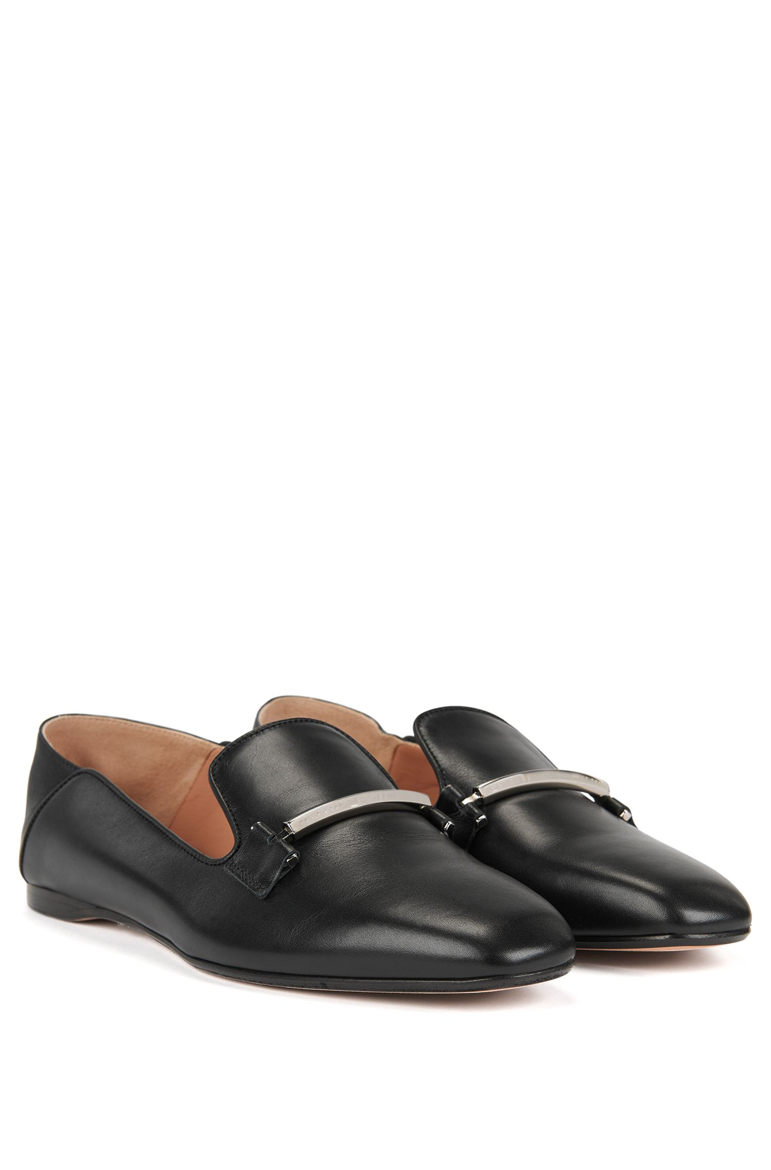 Loafer aus Leder mit umklappbarer Ferse, Schwarz