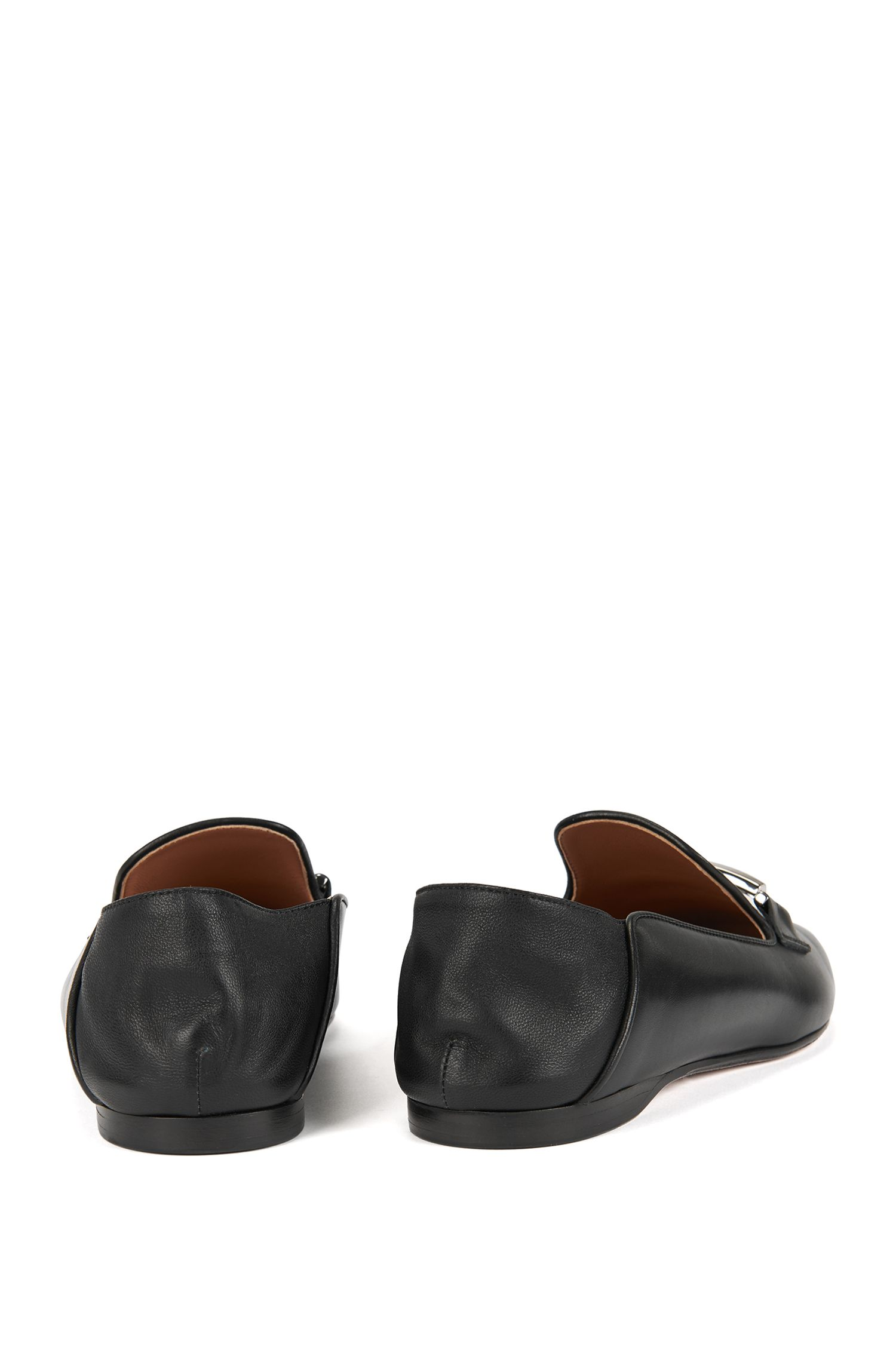 Leather loafers with fold-down heel counters BOSS