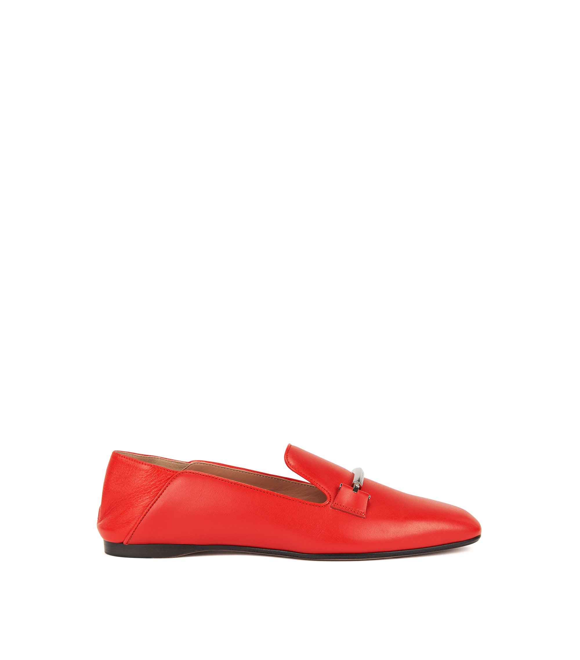 Leather loafers with fold-down heel counters, Red