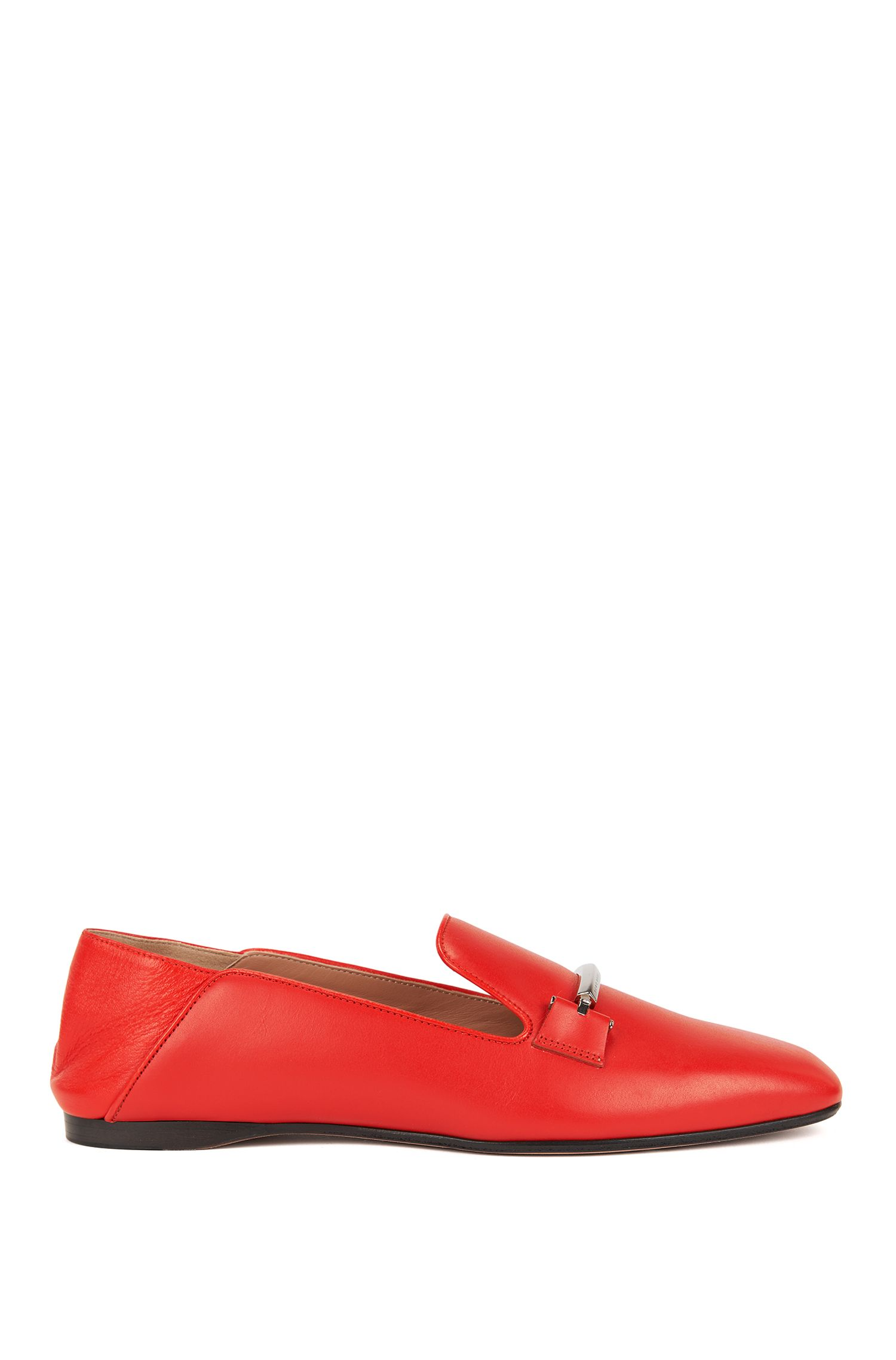 Leather loafers with fold-down heel counters