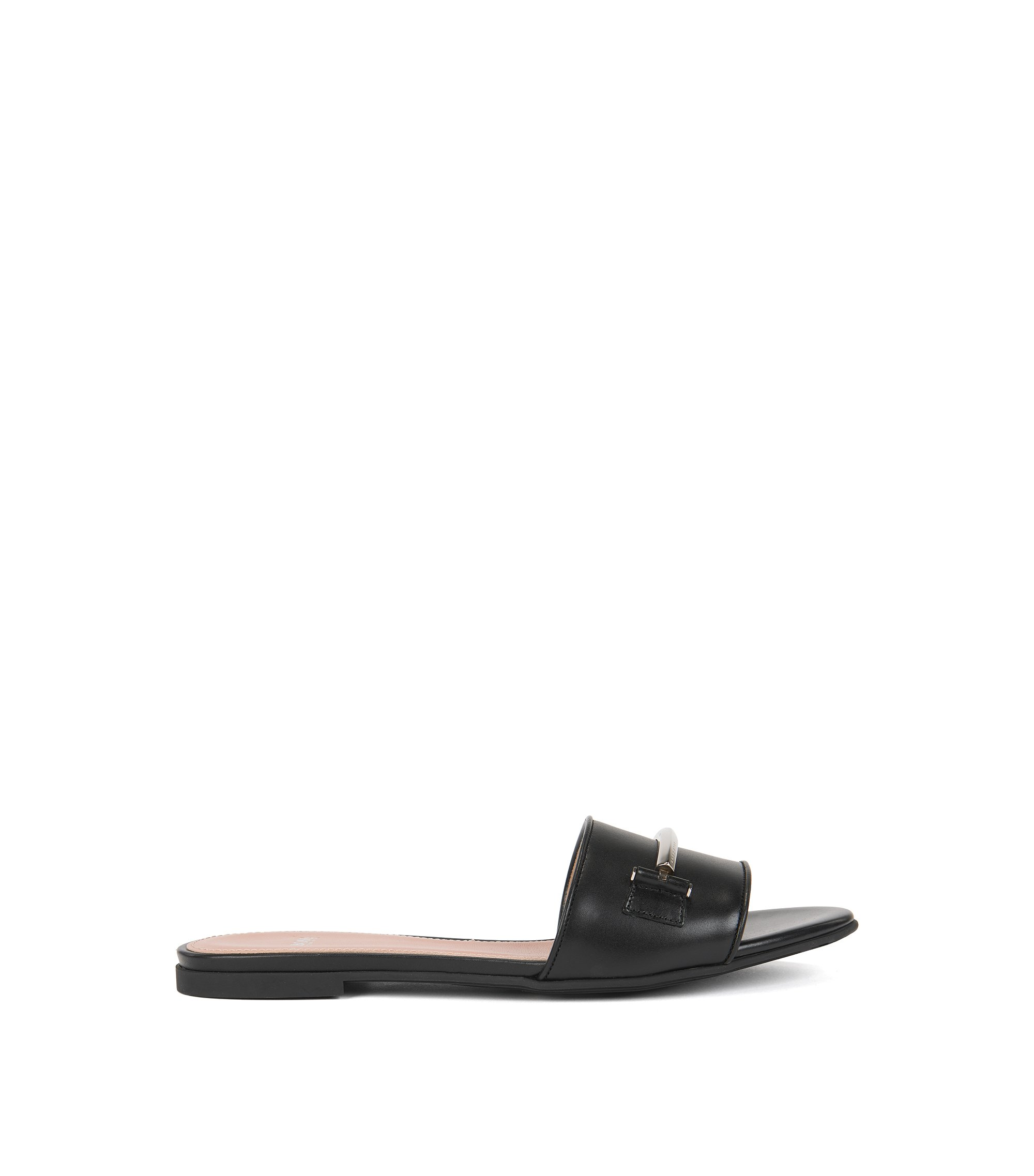 Hardware-trimmed slides in Italian leather, Black