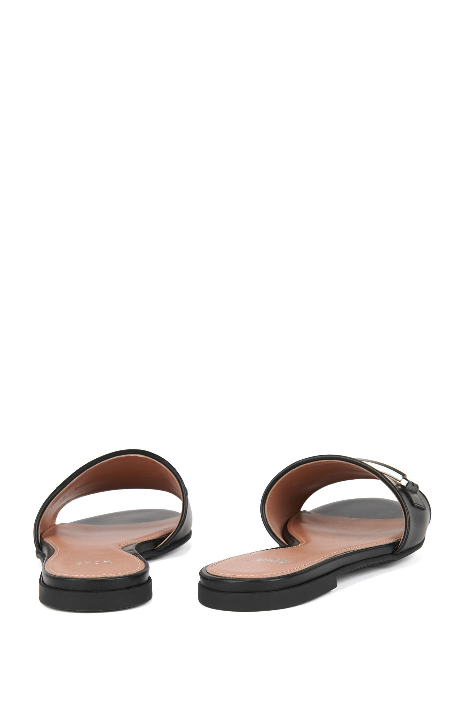 Hardware-trimmed slides in Italian leather