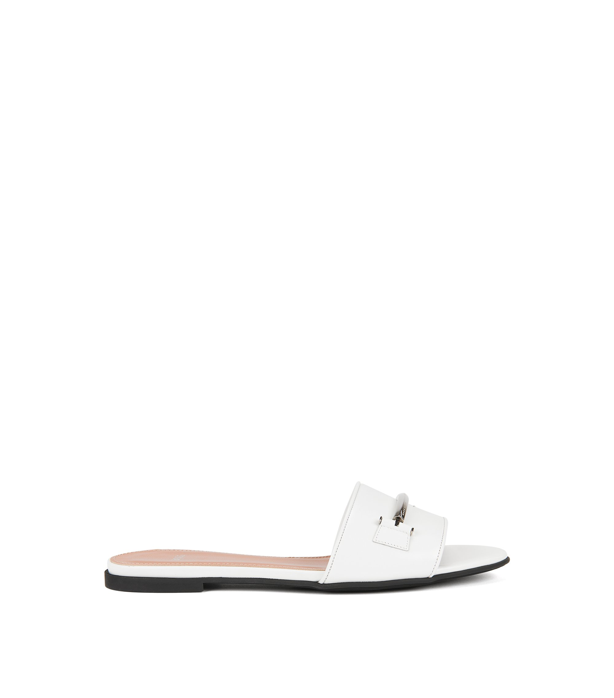 Hardware-trimmed slides in Italian leather, White