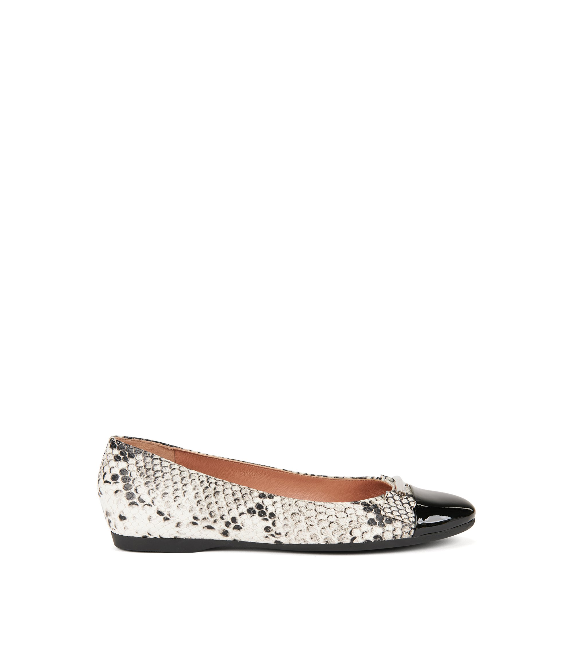 Snakeprint leather ballerina pumps with patent toe, Patterned