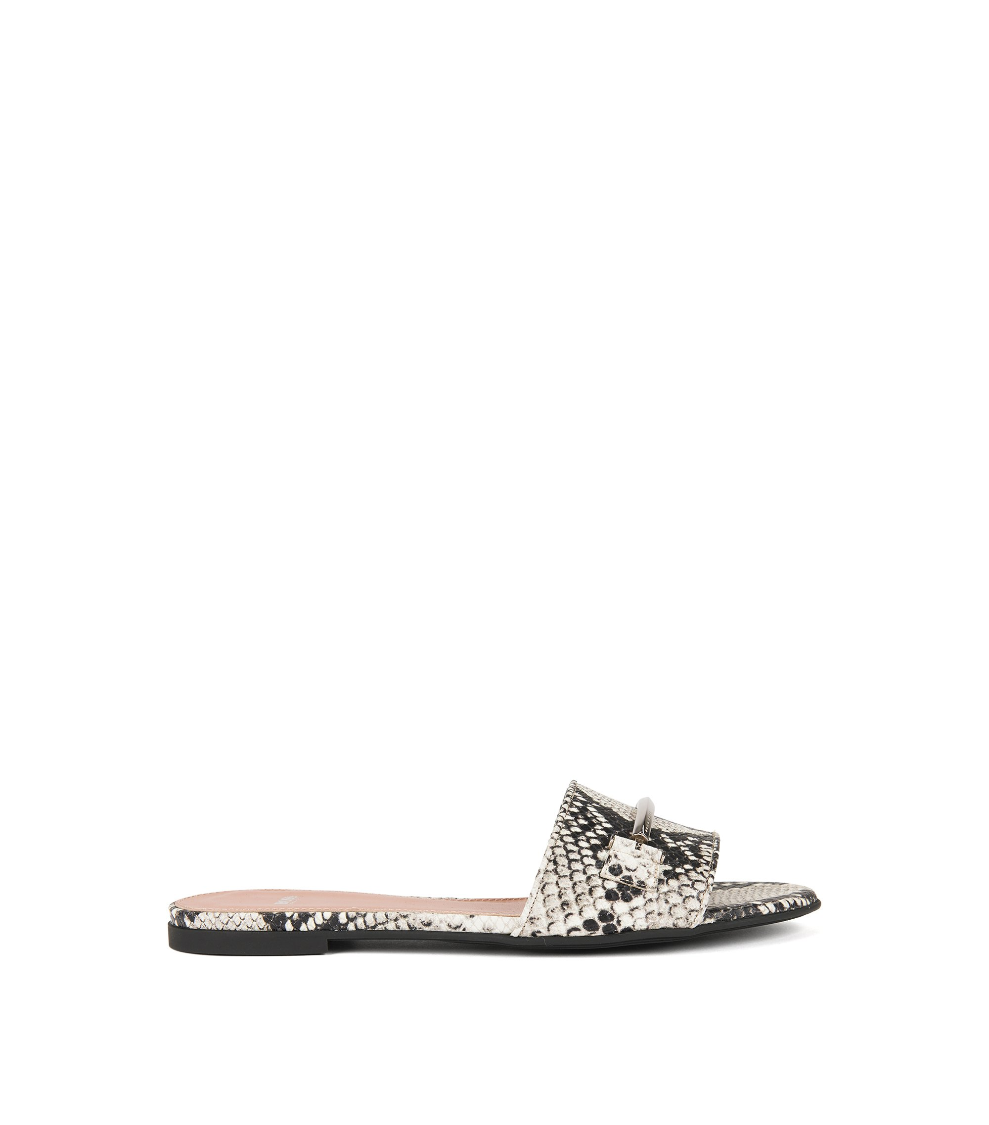Snake-print sliders in Italian leather, Patterned