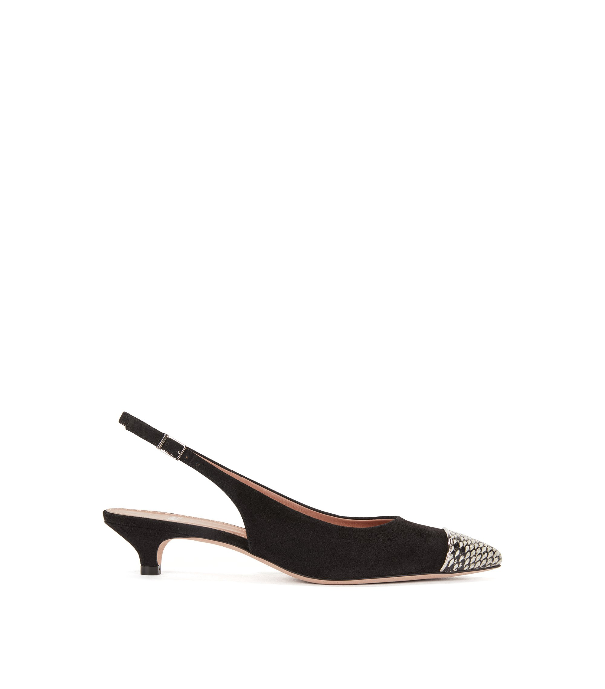 Slingback pumps in Italian suede and leather, Black