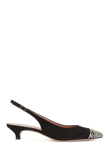 Slingback pumps in Italian suede and leather BOSS YOdckzEut