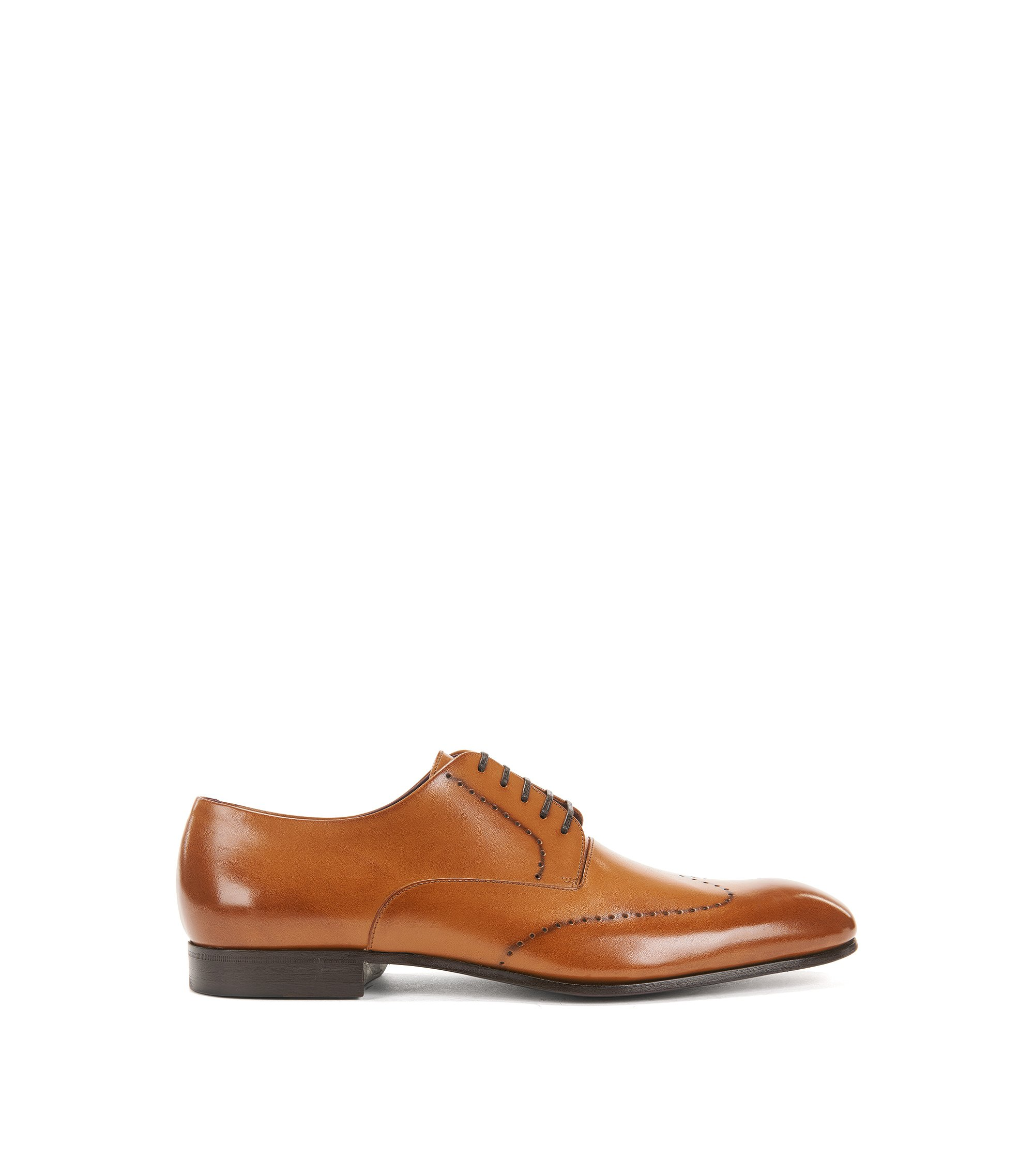 Burnished-leather Derby shoes with brogueing, Brown