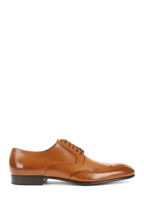 Burnished-leather Derby shoes with brogueing BOSS Yc8EC7wf