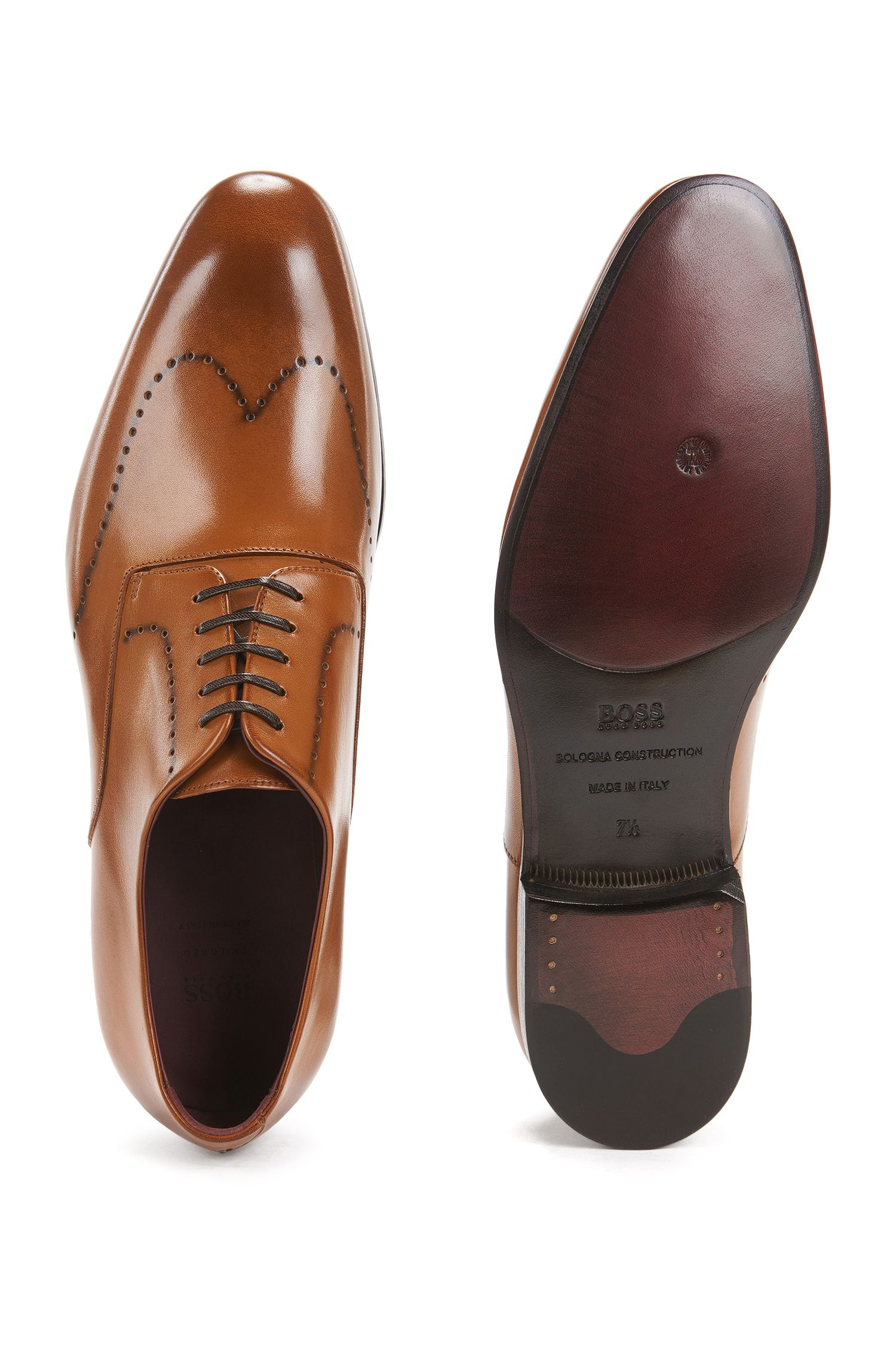 Burnished-leather Derby shoes with brogueing BOSS