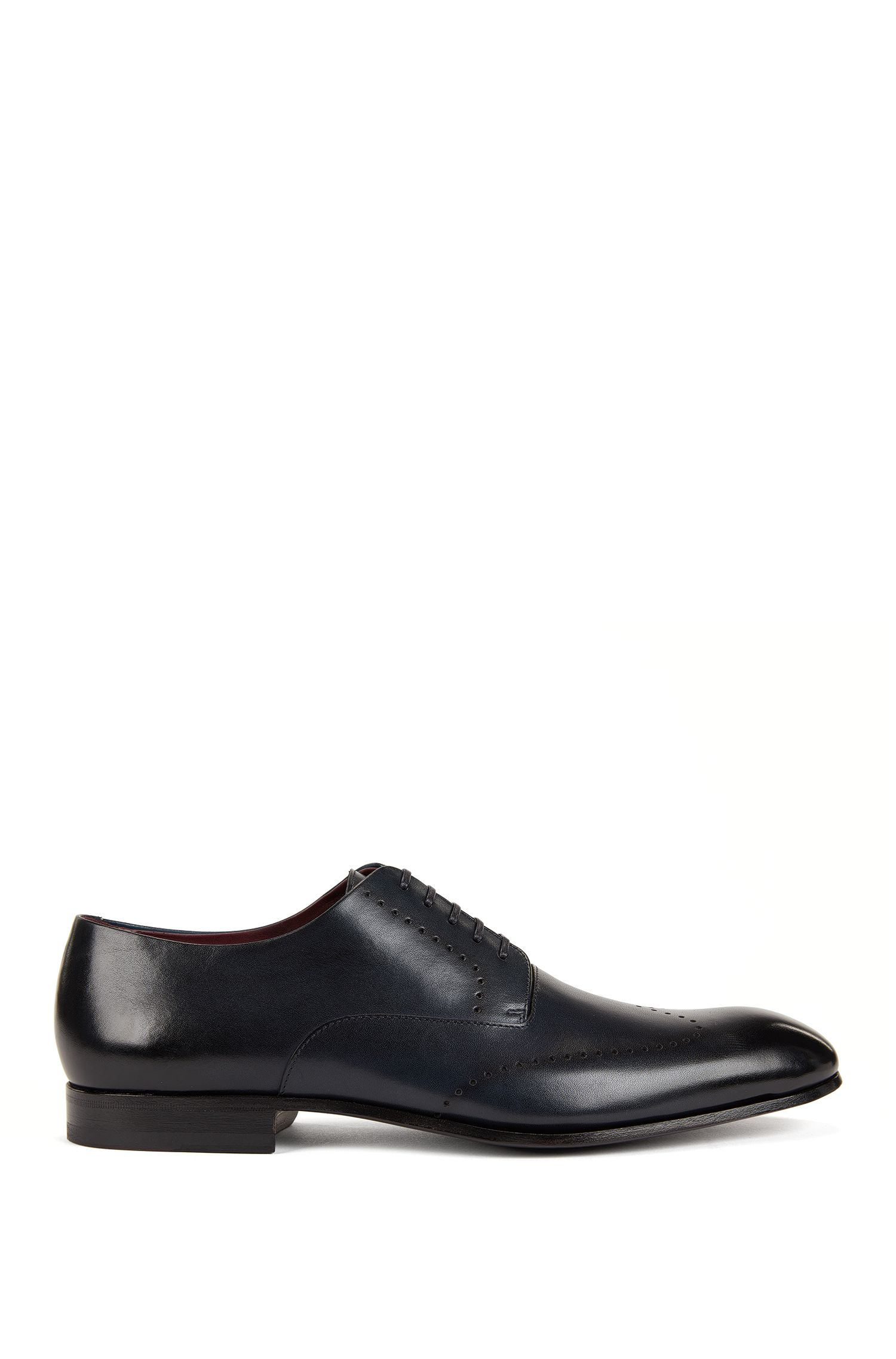 Burnished-leather Derby shoes with brogueing