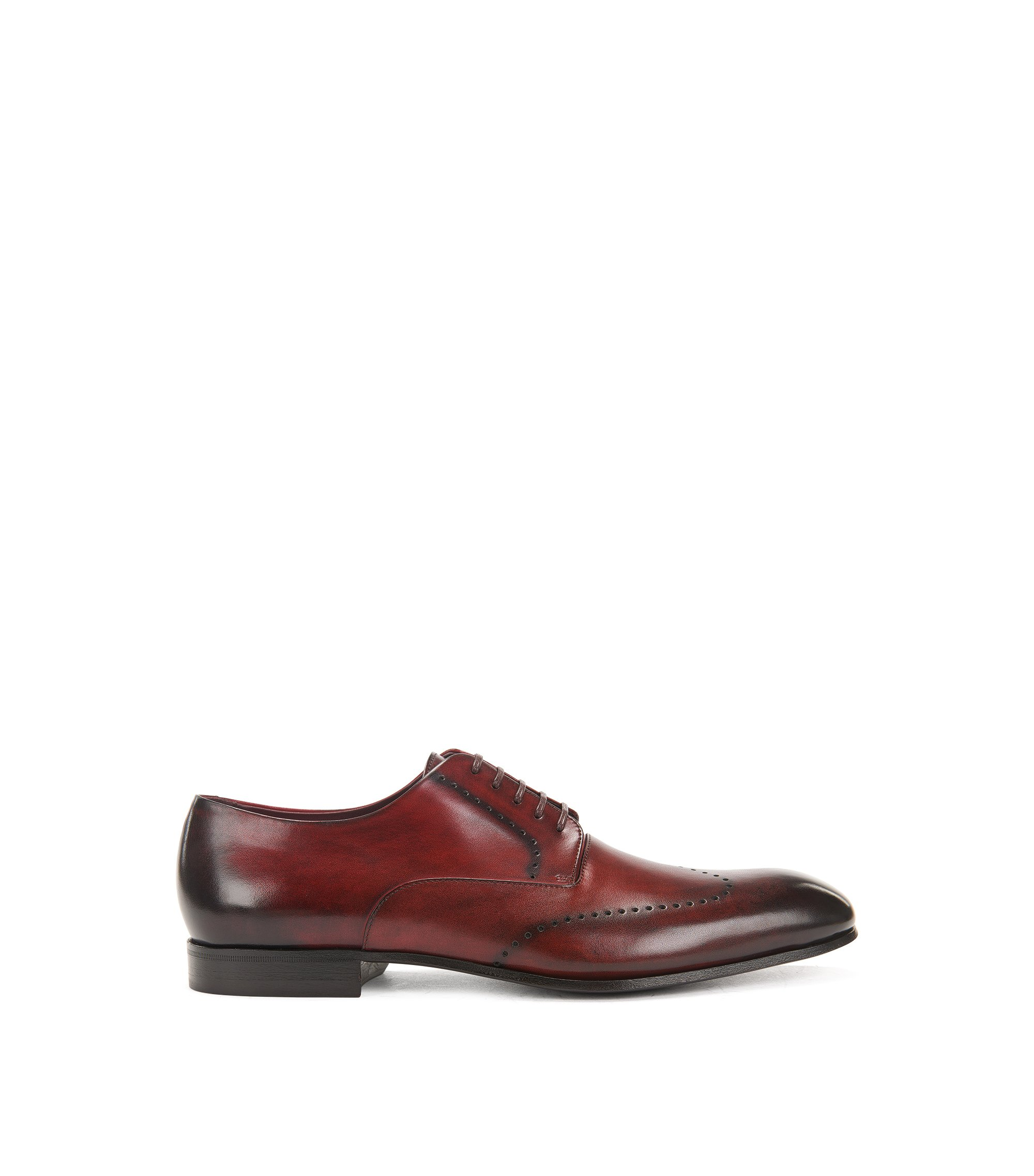 Burnished-leather Derby shoes with brogueing, Red