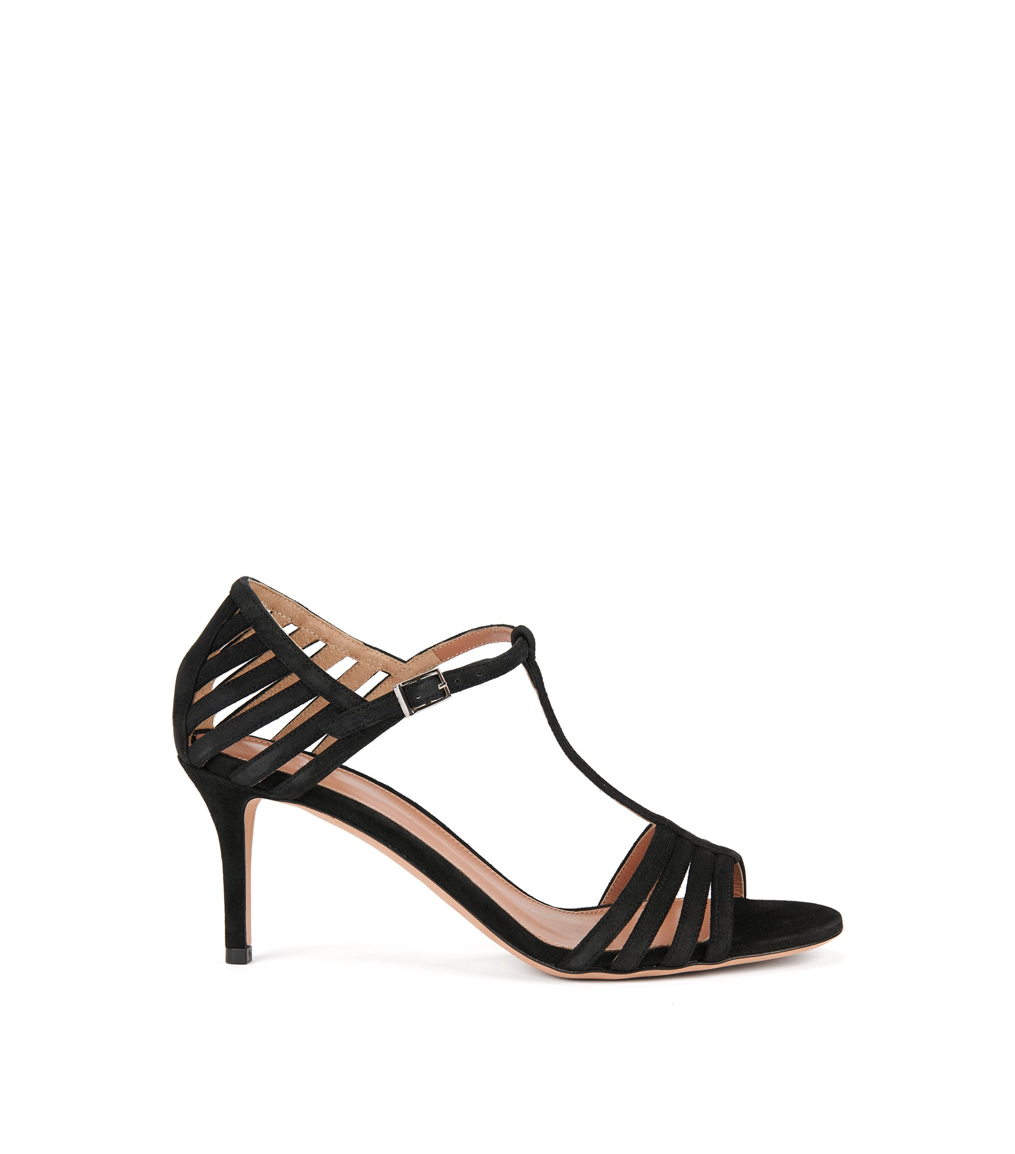 Strappy sandals in Italian suede, Black