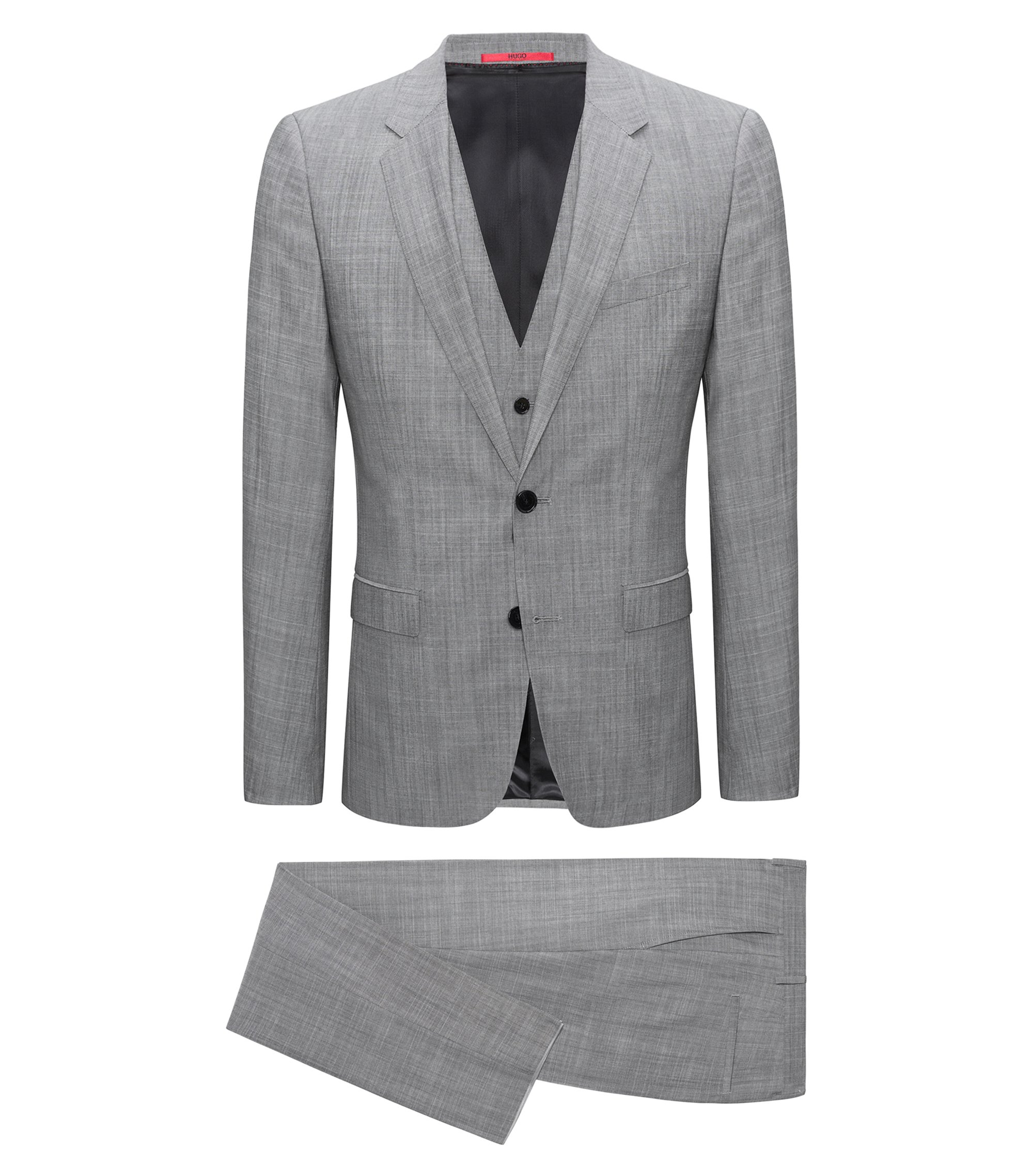 Extra-slim-fit three-piece suit in melange virgin wool, Anthracite