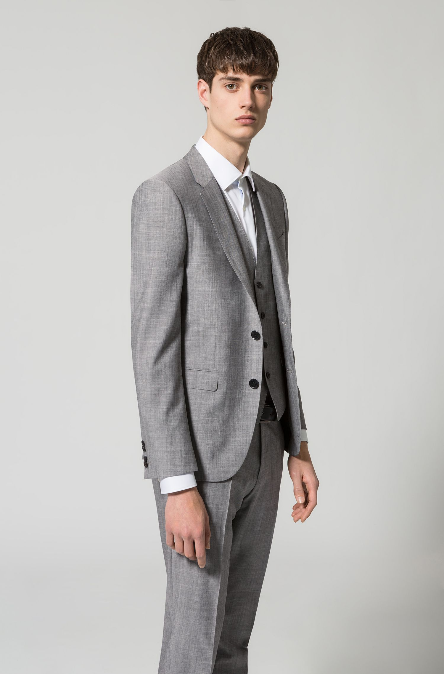 Extra-slim-fit three-piece suit in melange virgin wool