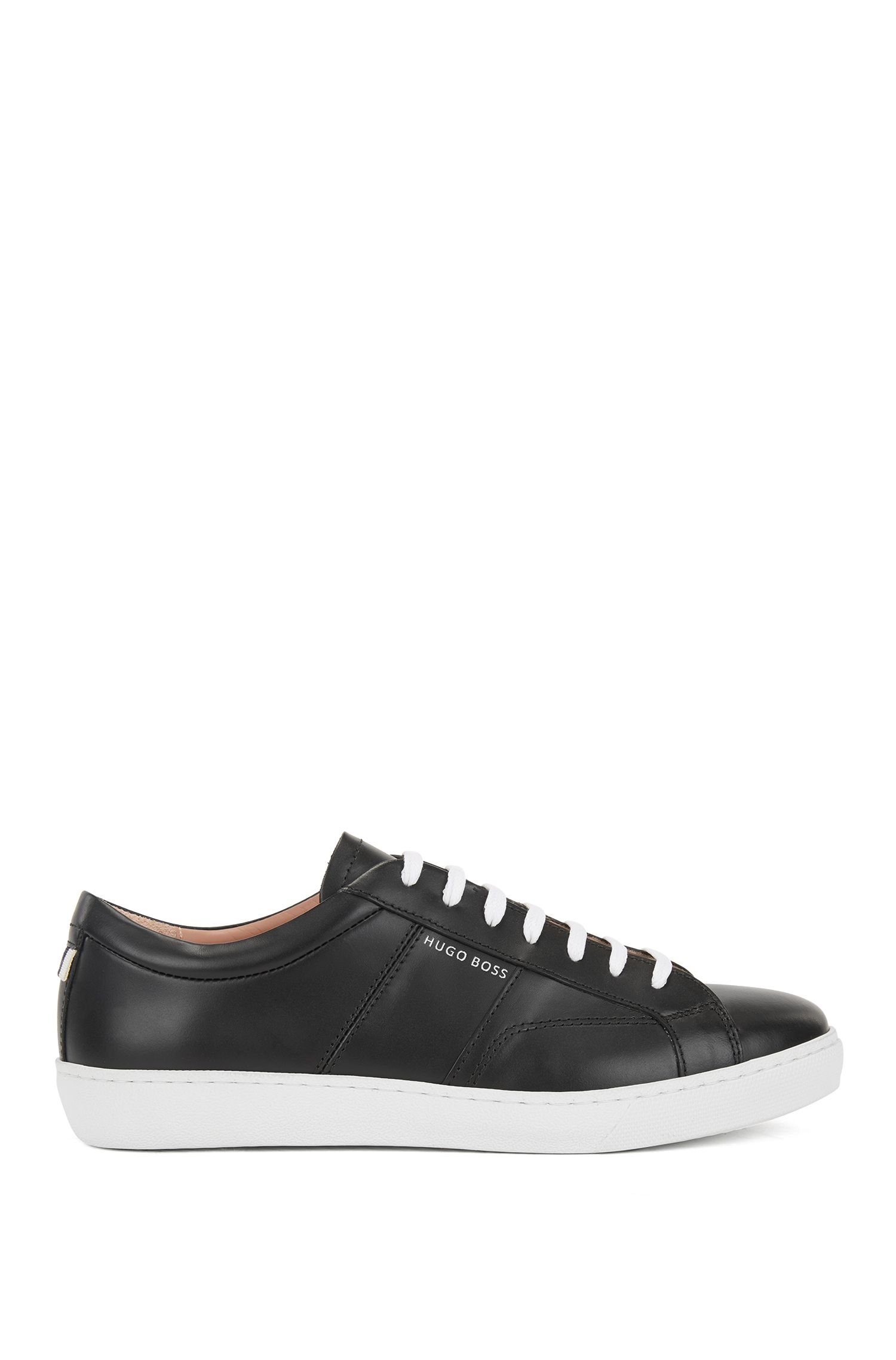 Low-top trainers in Italian leather, Black