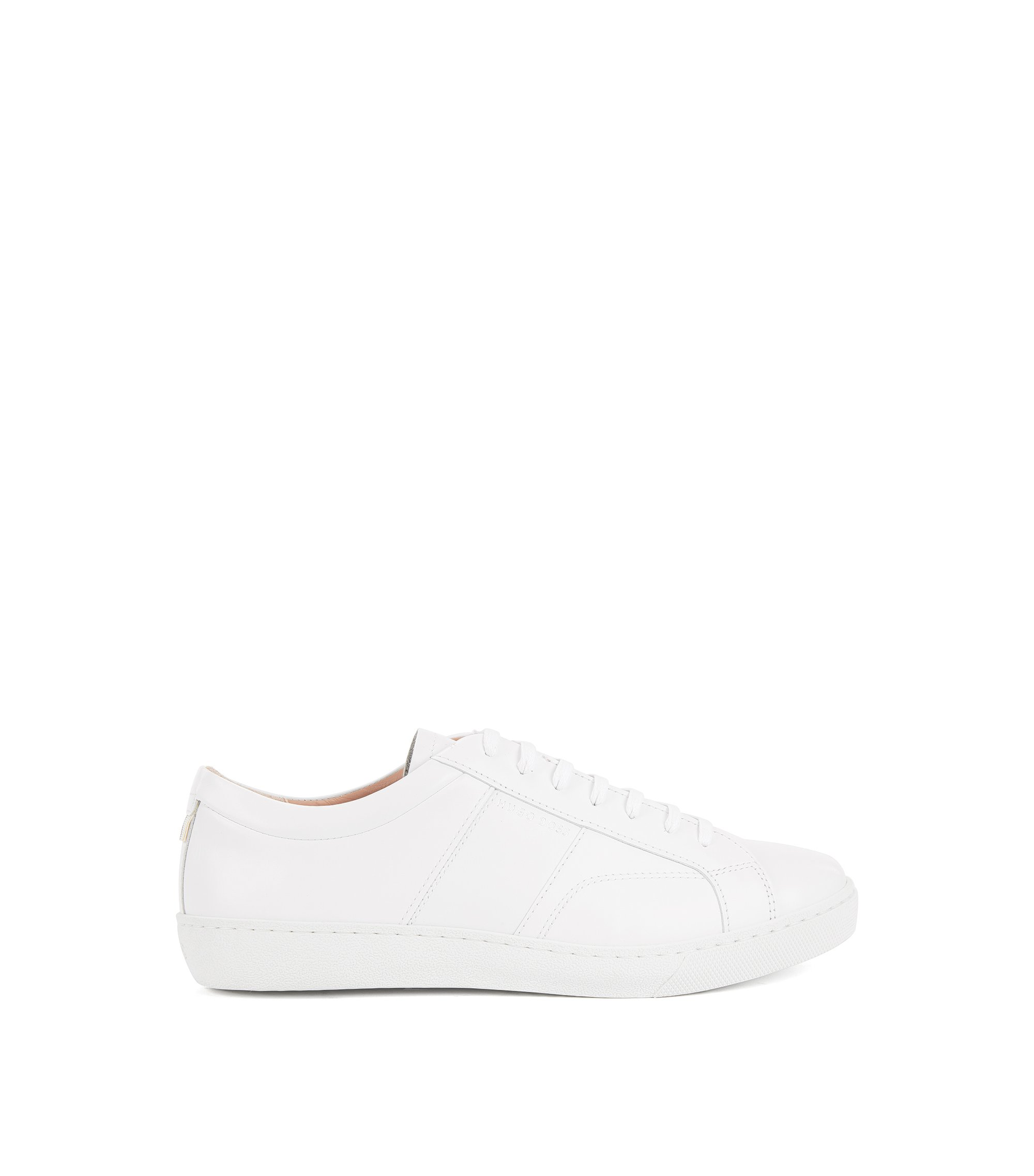 Low-top trainers in Italian leather, White