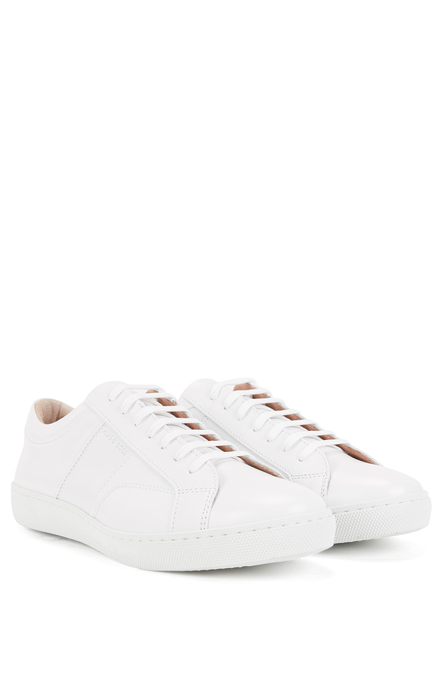 Low-top trainers in Italian leather