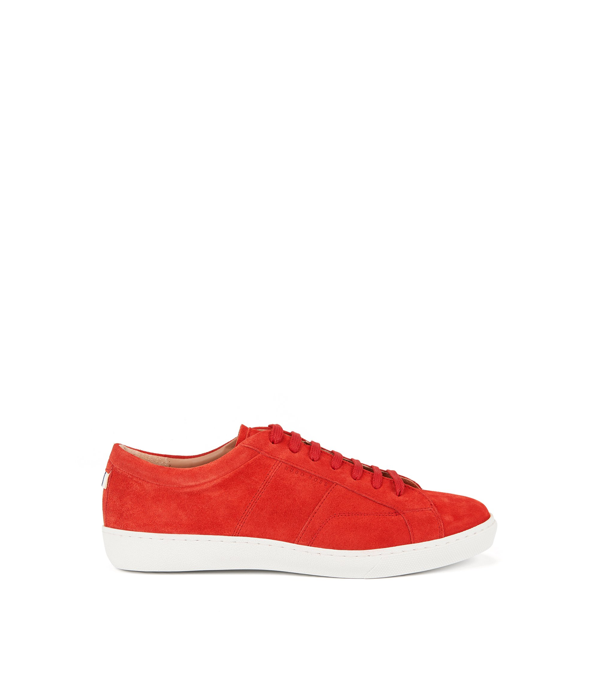 Low-top trainers in soft Italian suede, Red