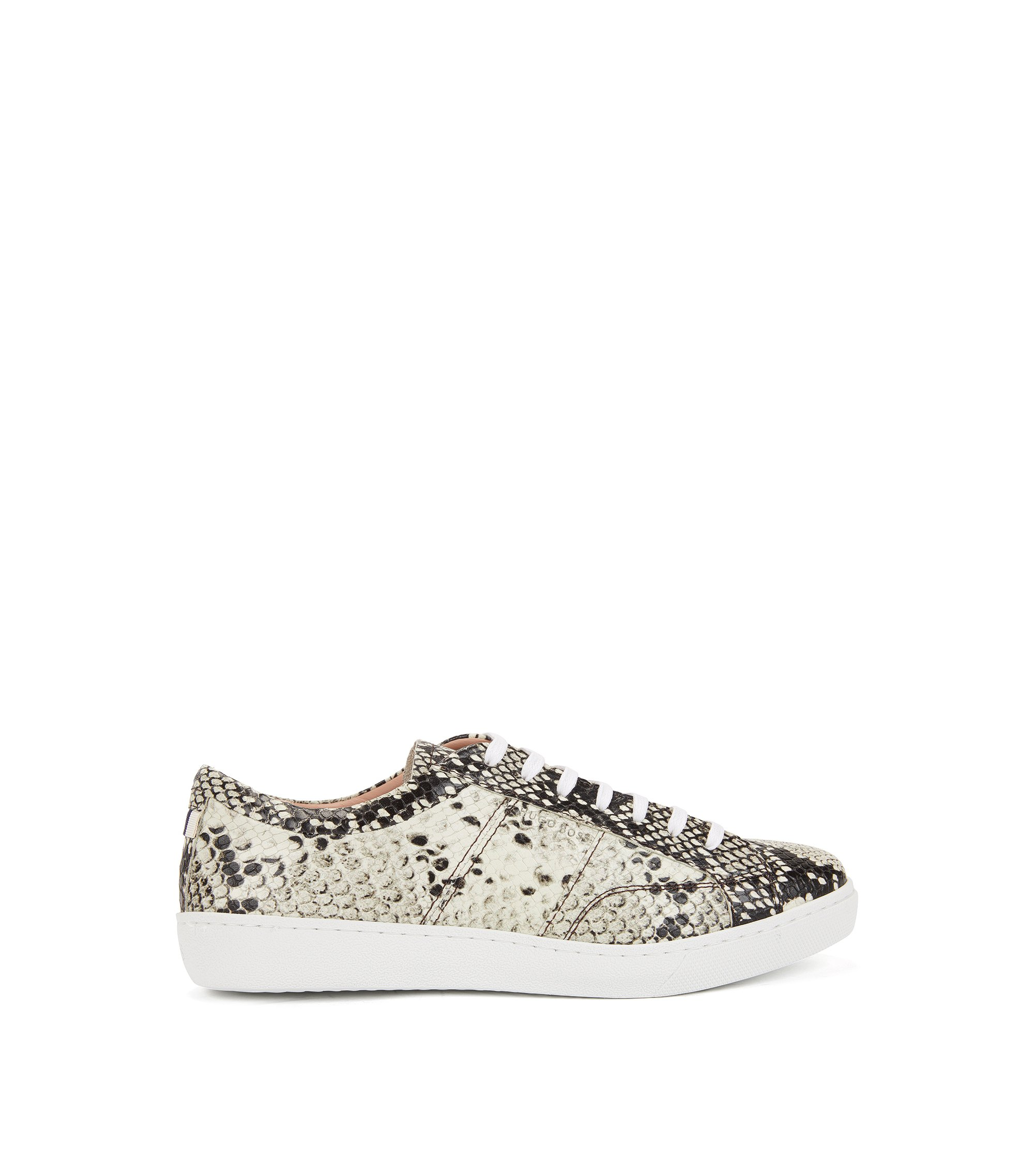 Lace-up trainers in python-print Italian calf leather, Patterned