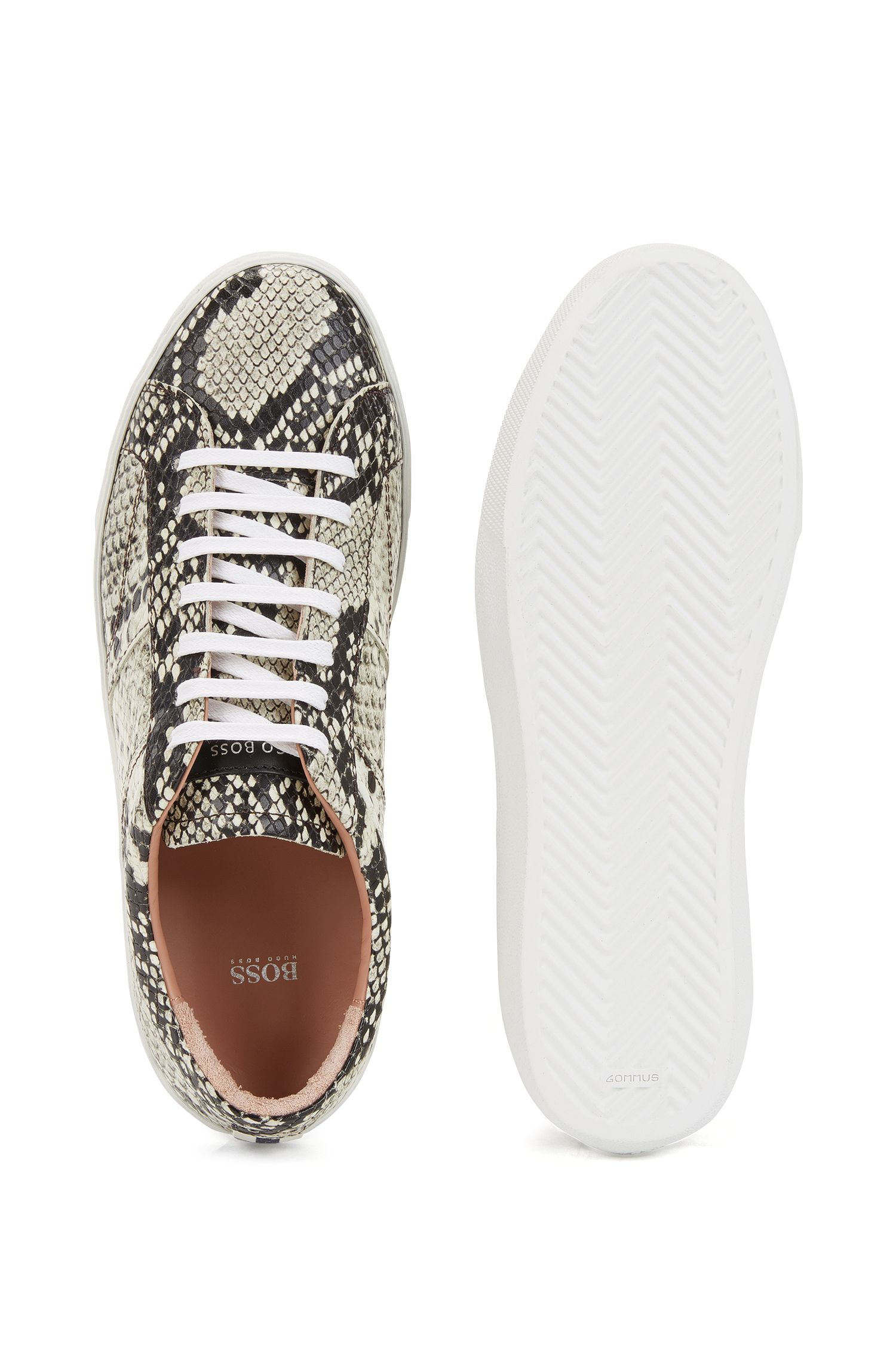 Lace-up trainers in python-print Italian calf leather