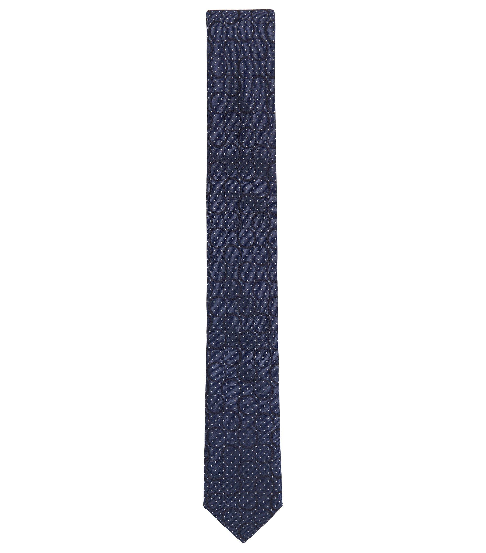 Corbata elaborada en Italia en jacquard diseño Paisley de seda, Azul