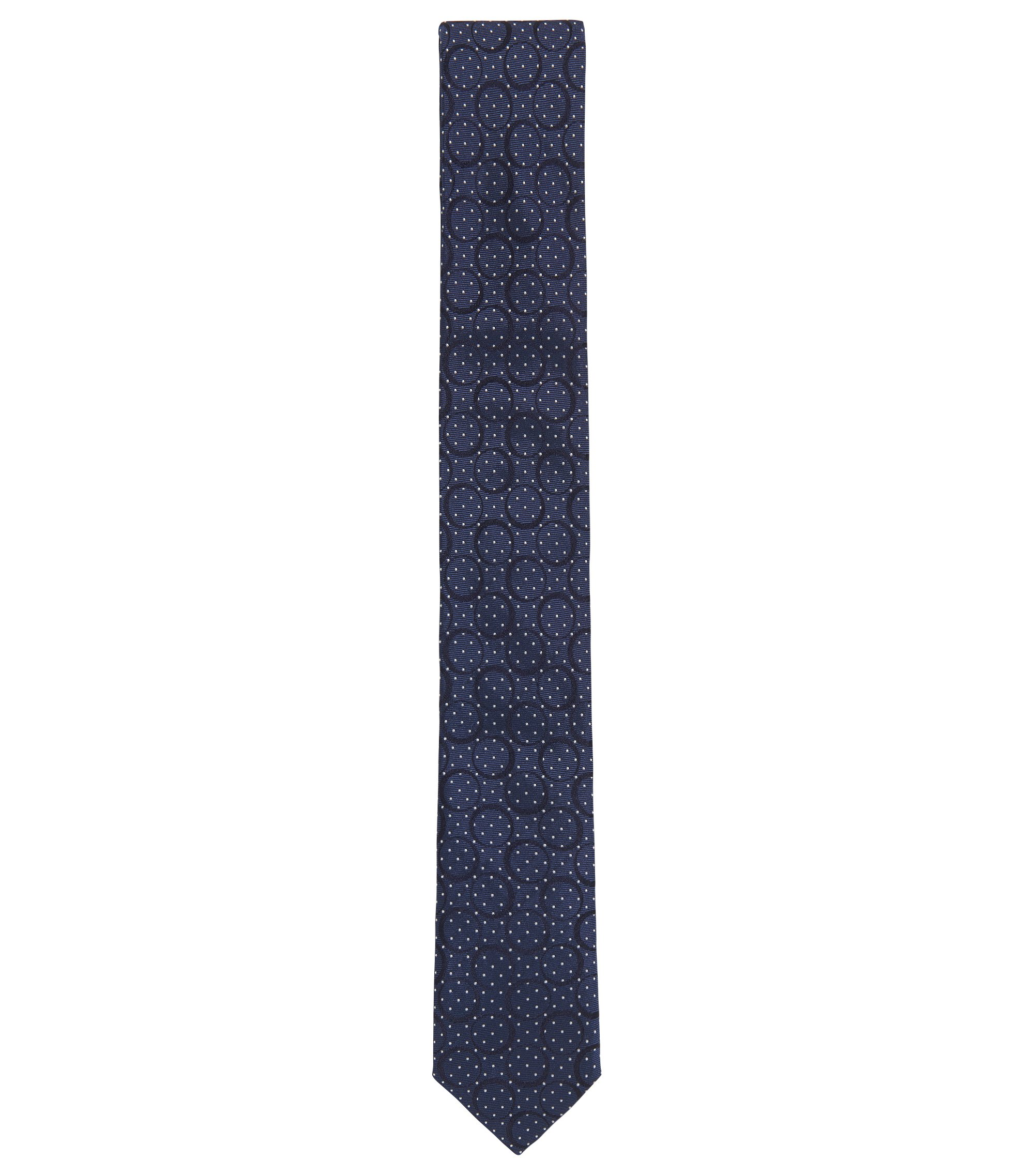 Italian-made tie in paisley silk jacquard, Blue