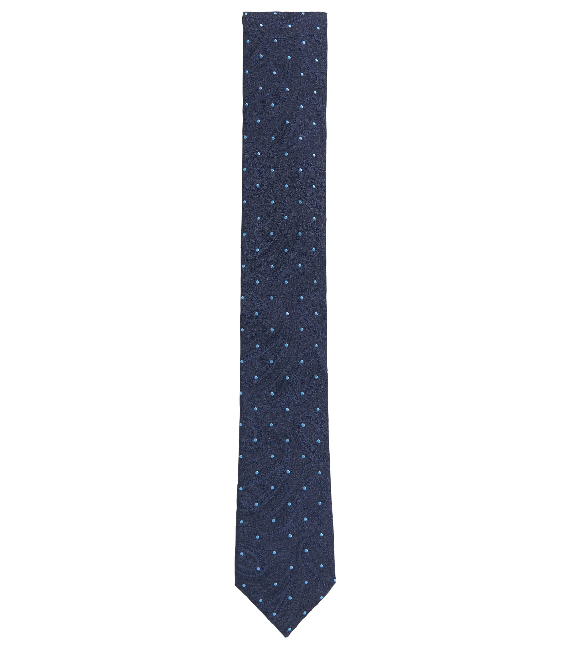 Silk-jacquard patterned tie made in Italy, Dark Blue