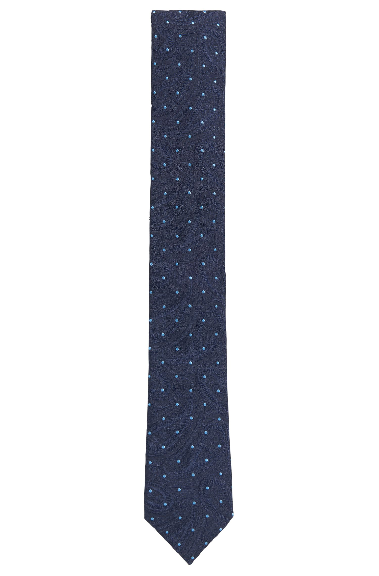 Silk-jacquard patterned tie made in Italy