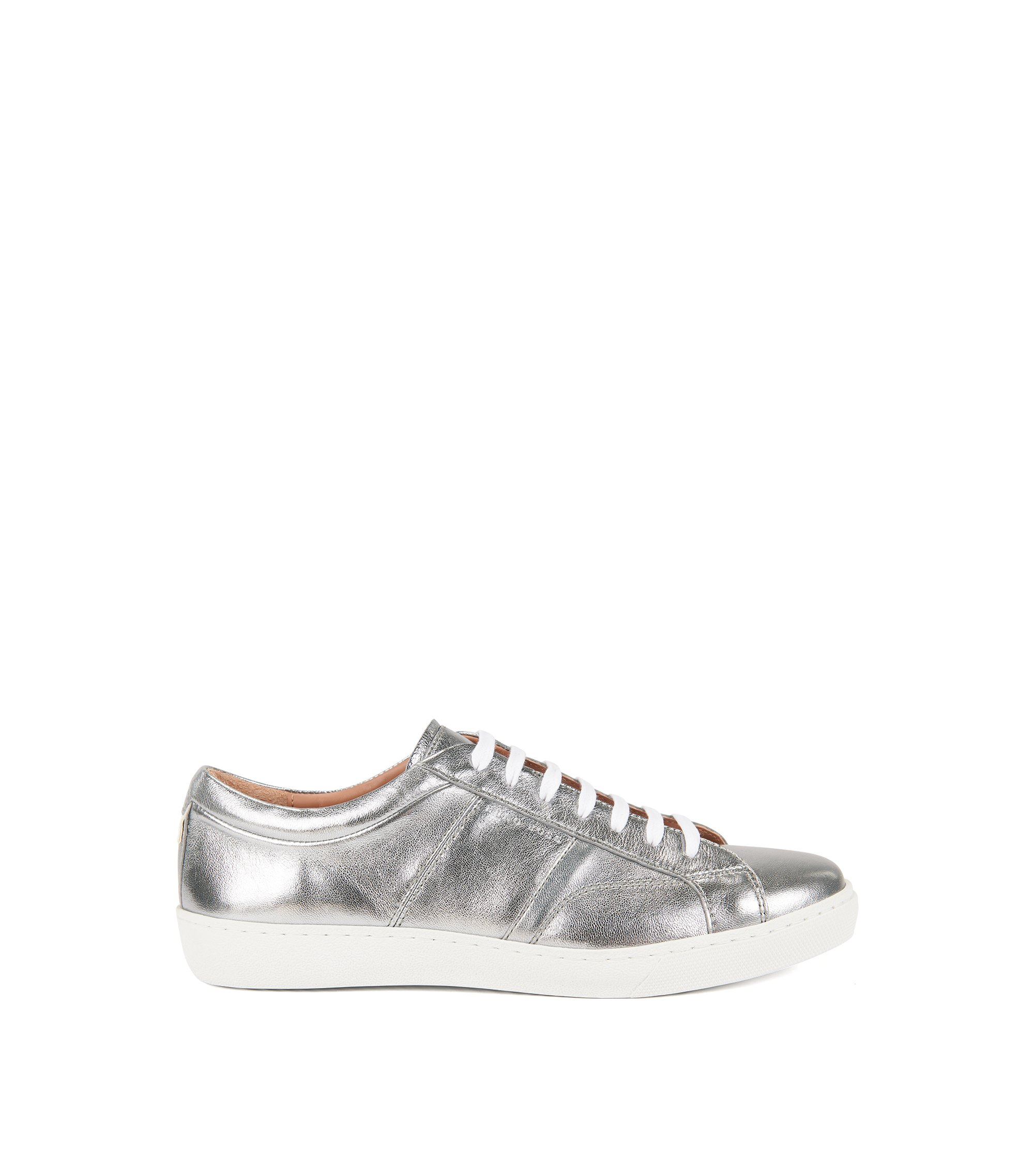 Low-top trainers in laminated leather, Silver