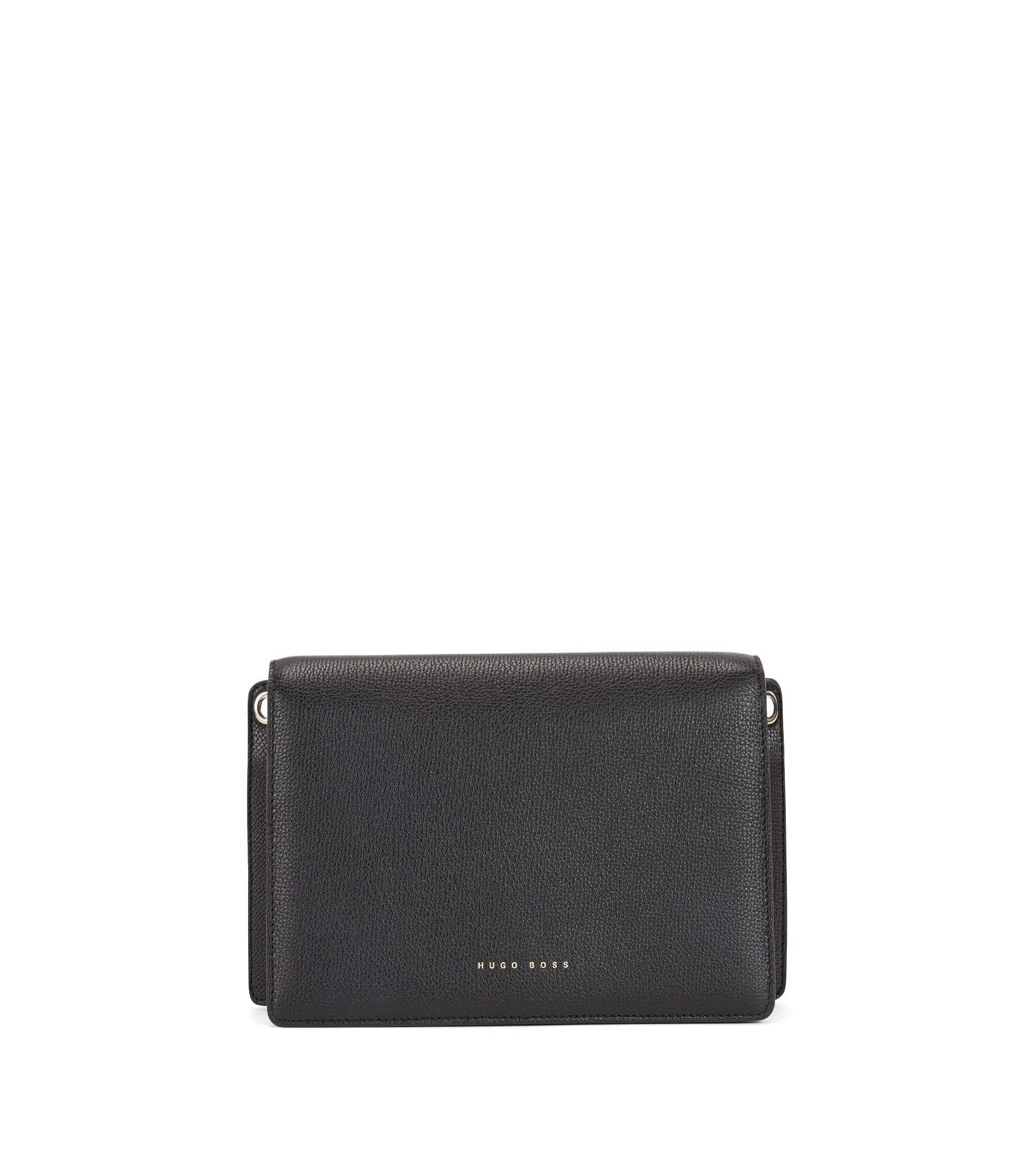 Crossbody bag in grained Italian calf leather, Black