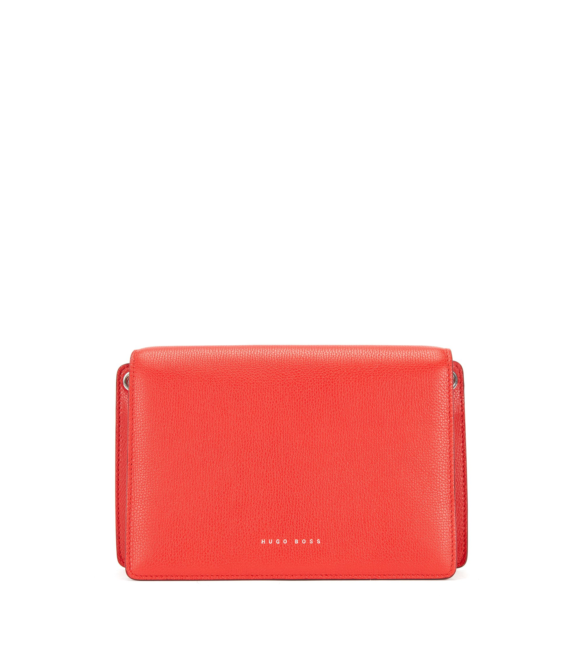 Crossbody bag in grained Italian calf leather, Red