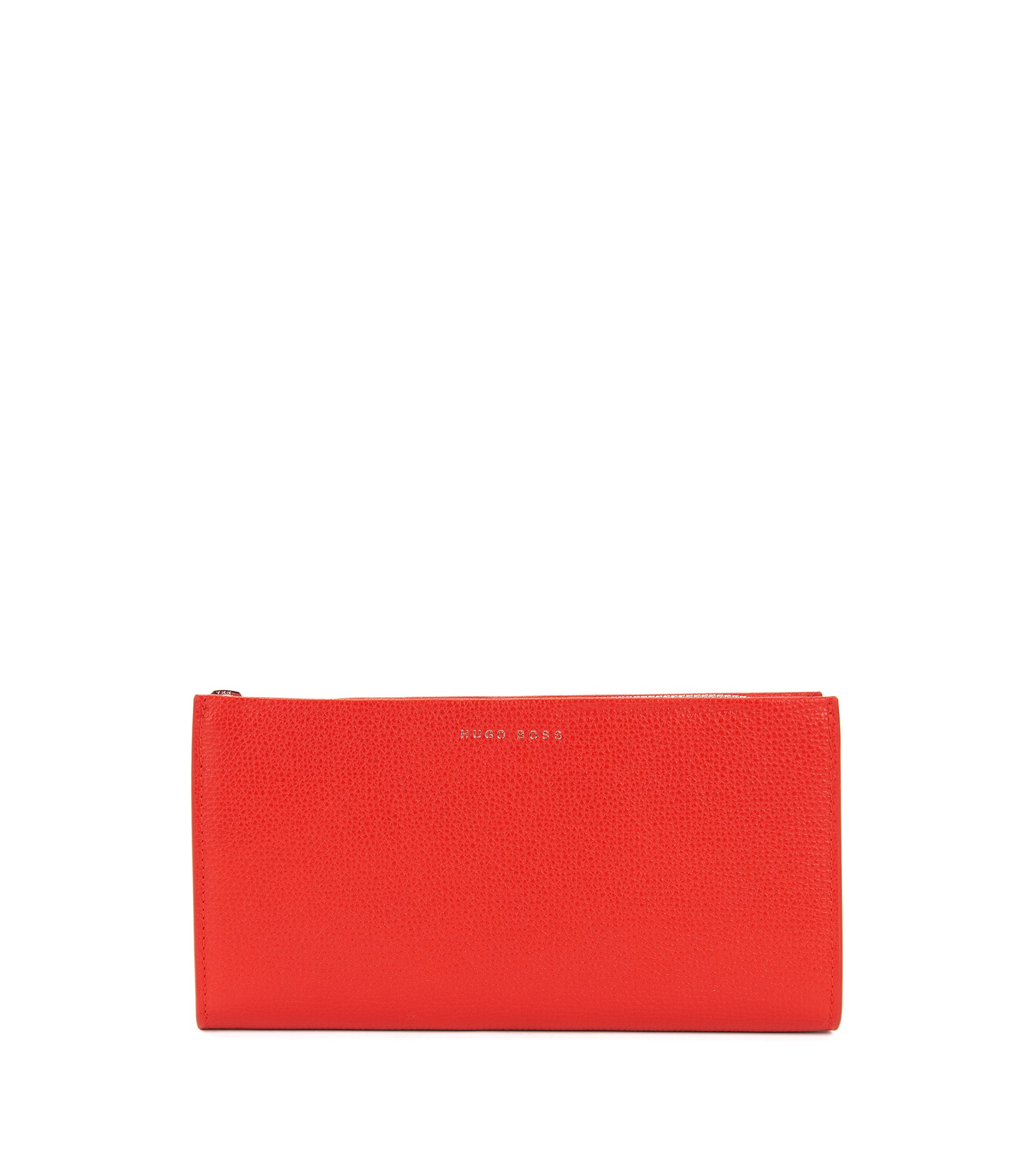 Zip-around wallet in grained Italian leather, Red