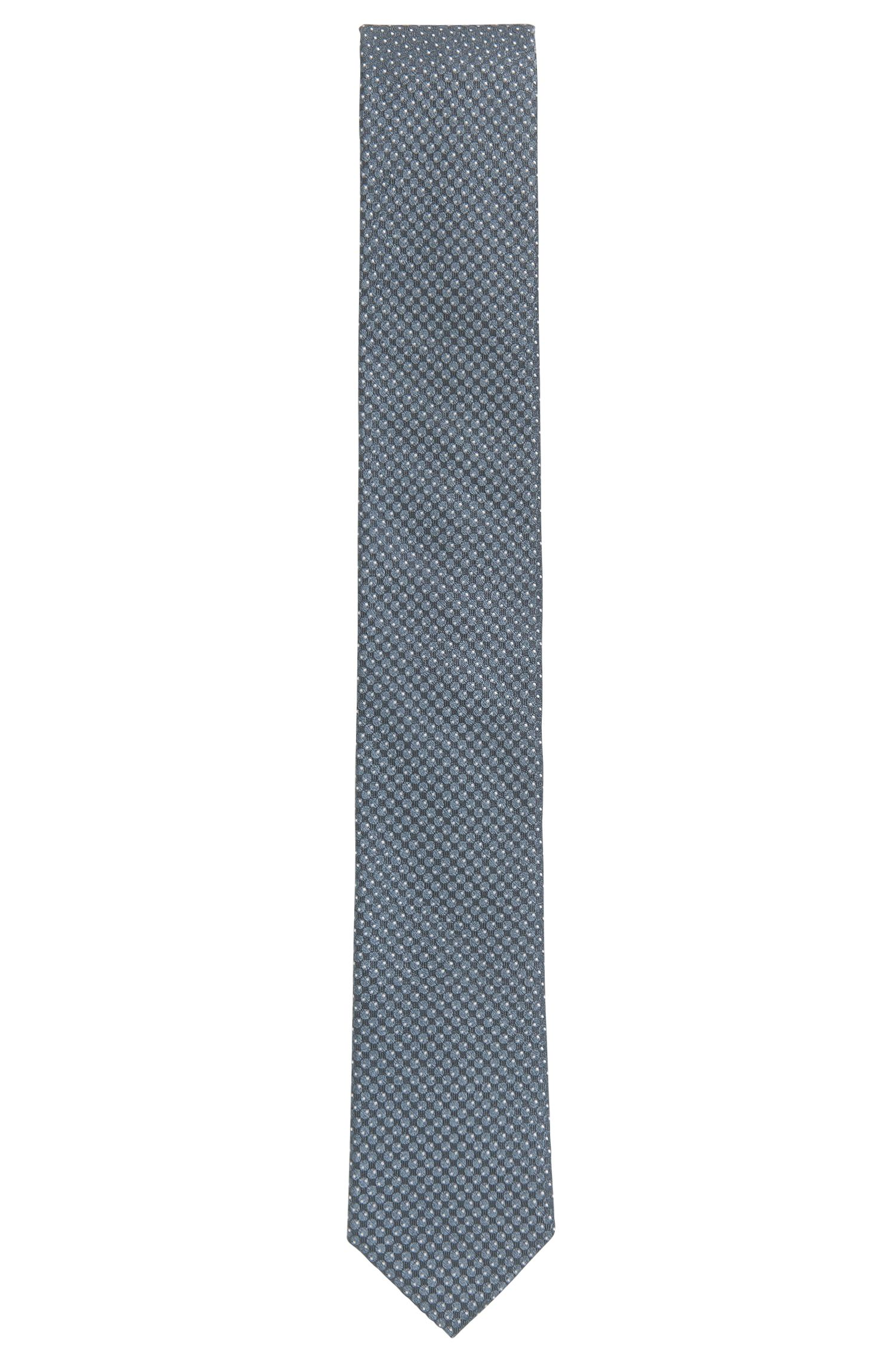 Italian-made dot-patterned tie in silk jacquard