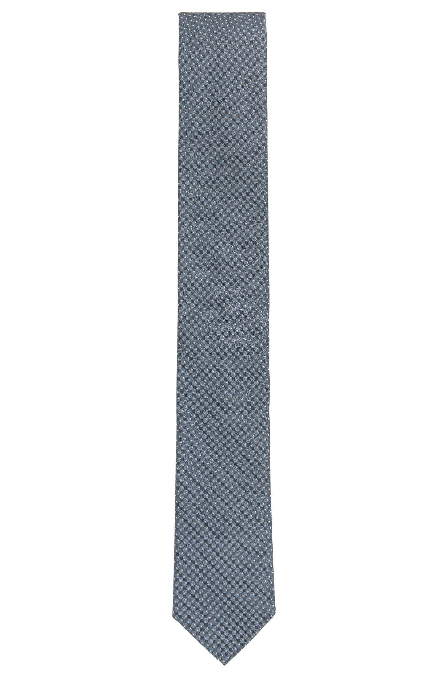 Cravatta in seta jacquard con motivo a pois realizzata in Italia