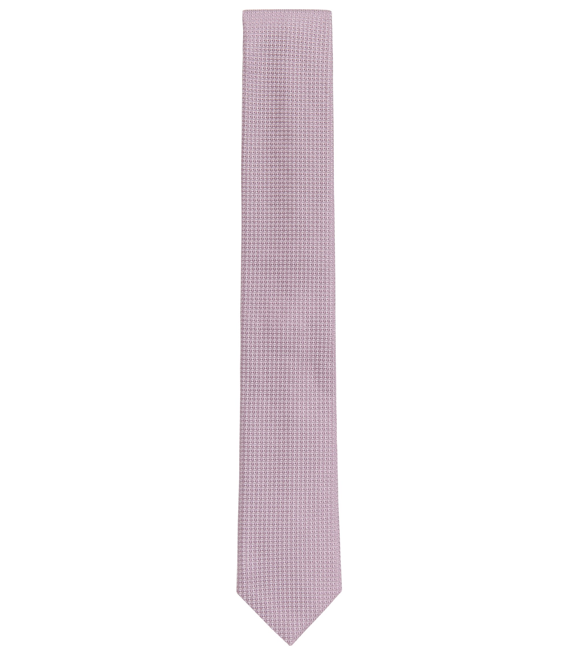 Italian-made tie in patterned silk jacquard, light pink
