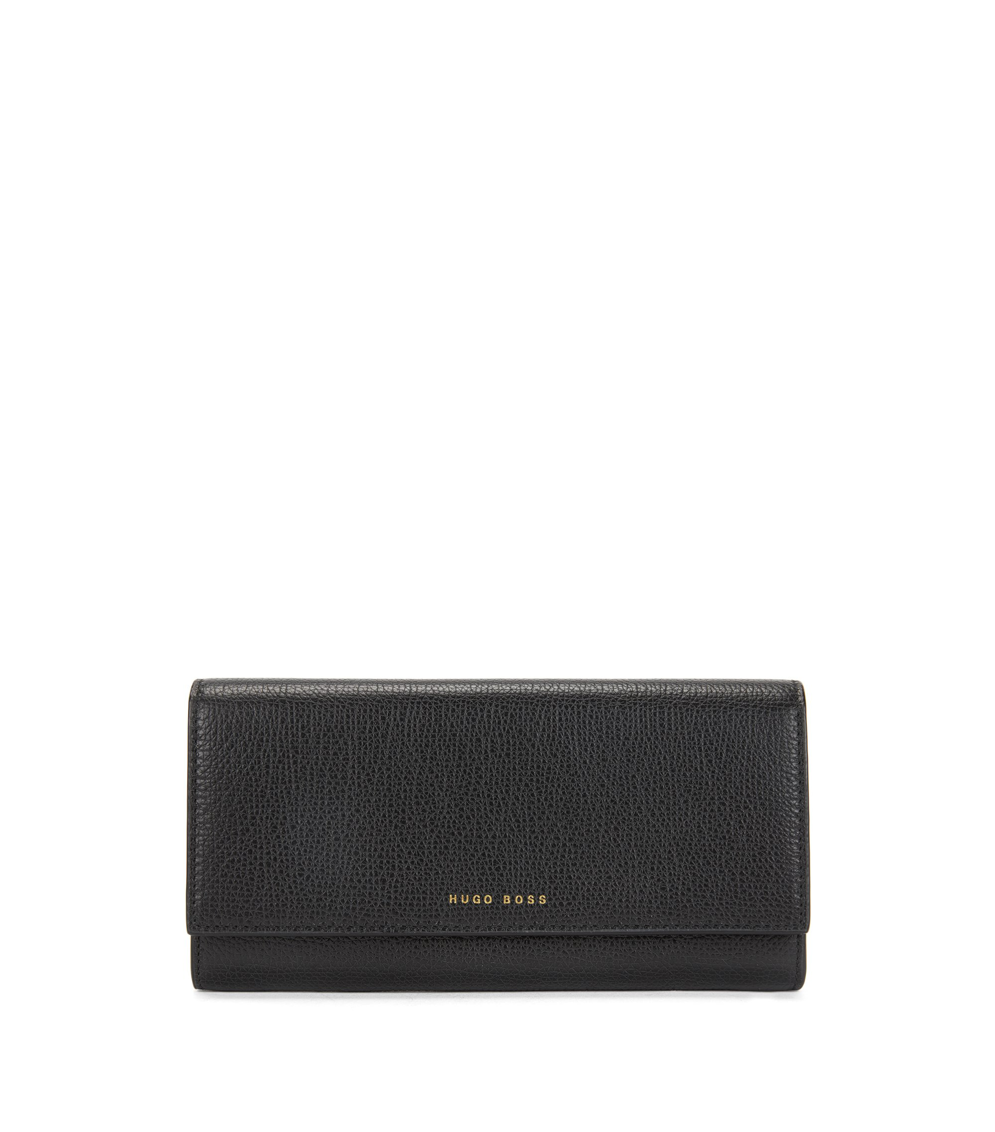 Long wallet in grained Italian leather, Black