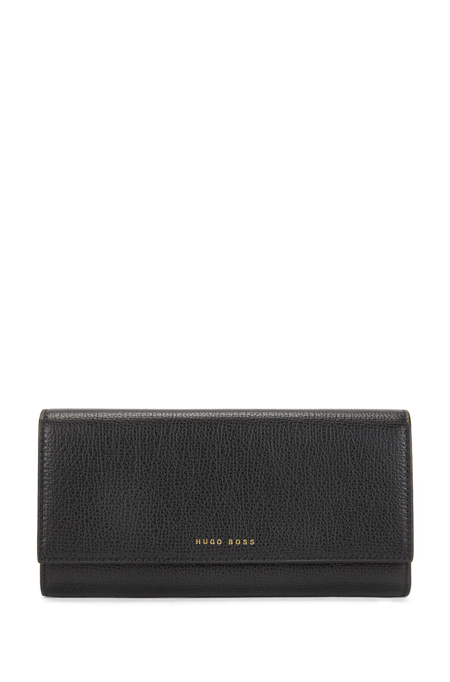 Längliche Geldbörse aus genarbtem italienischem Leder, Schwarz