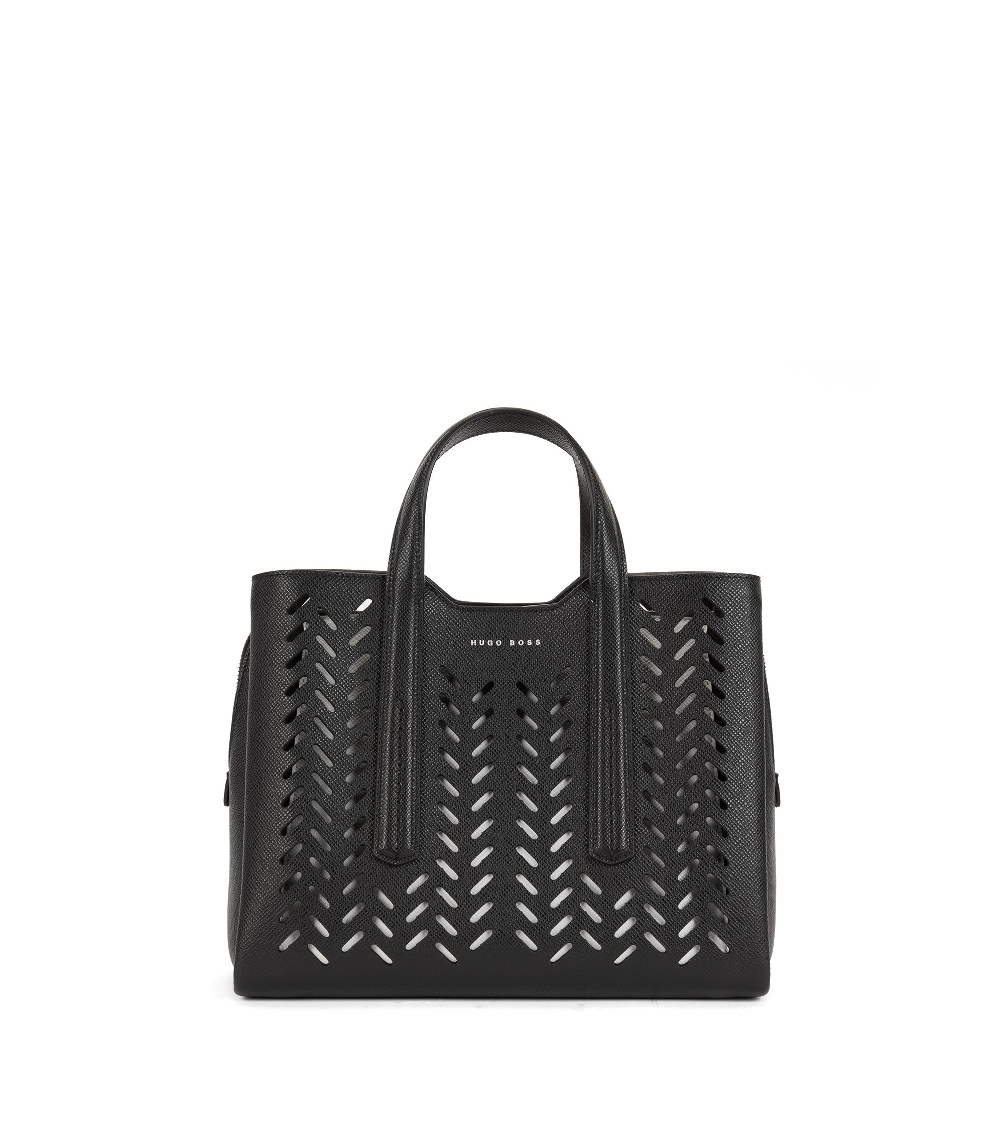 Tote bag in lasered Saffiano leather, Black