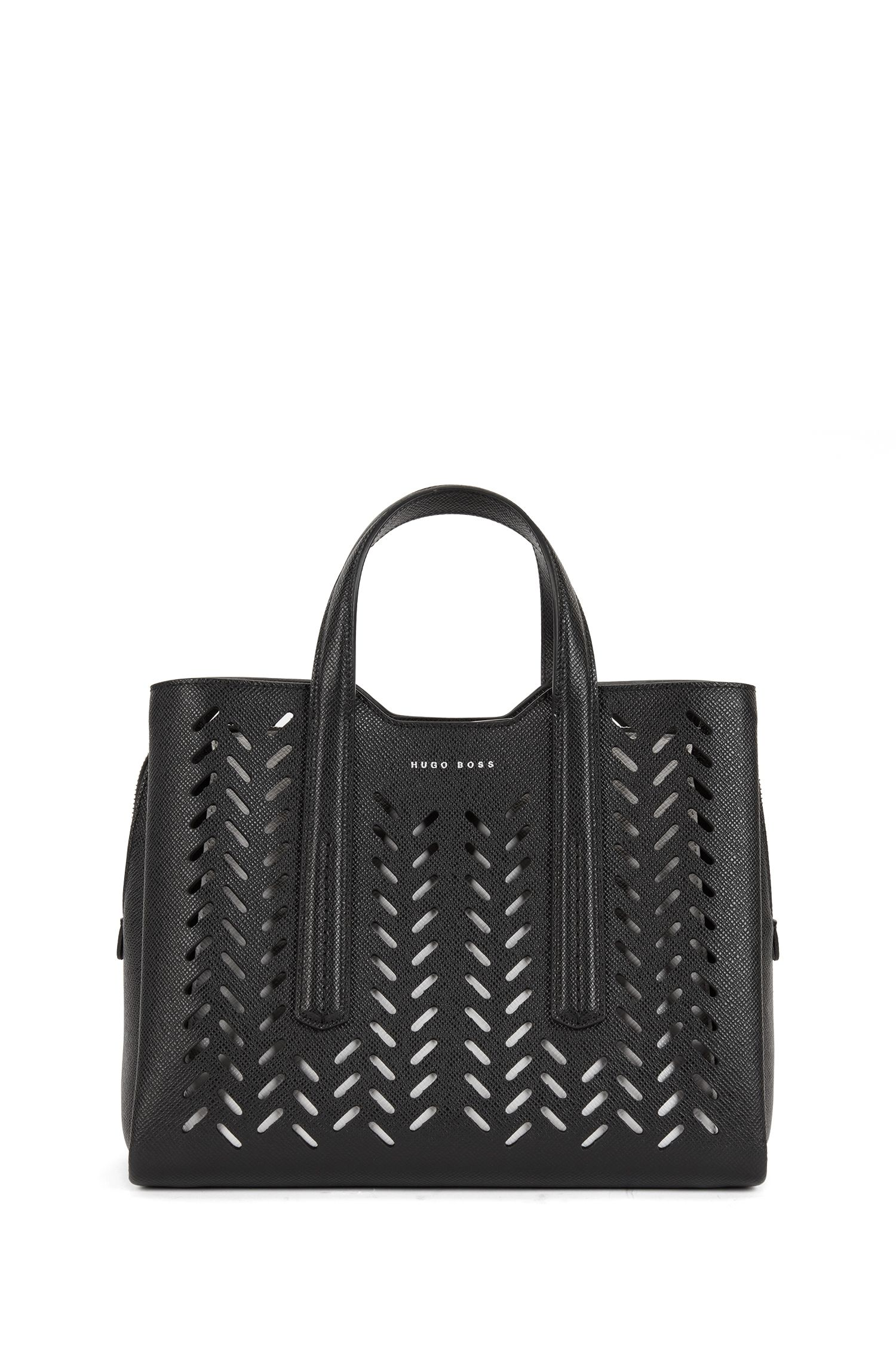 Tote bag in lasered Saffiano leather