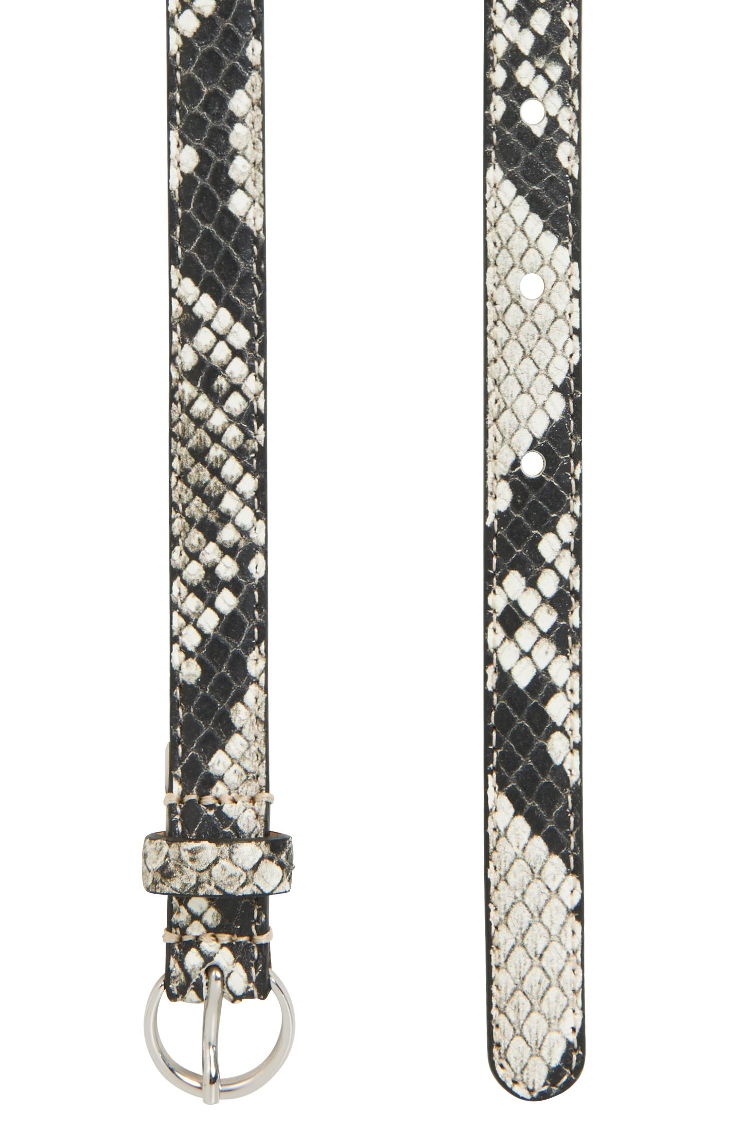 Python-print belt in Italian calf leather