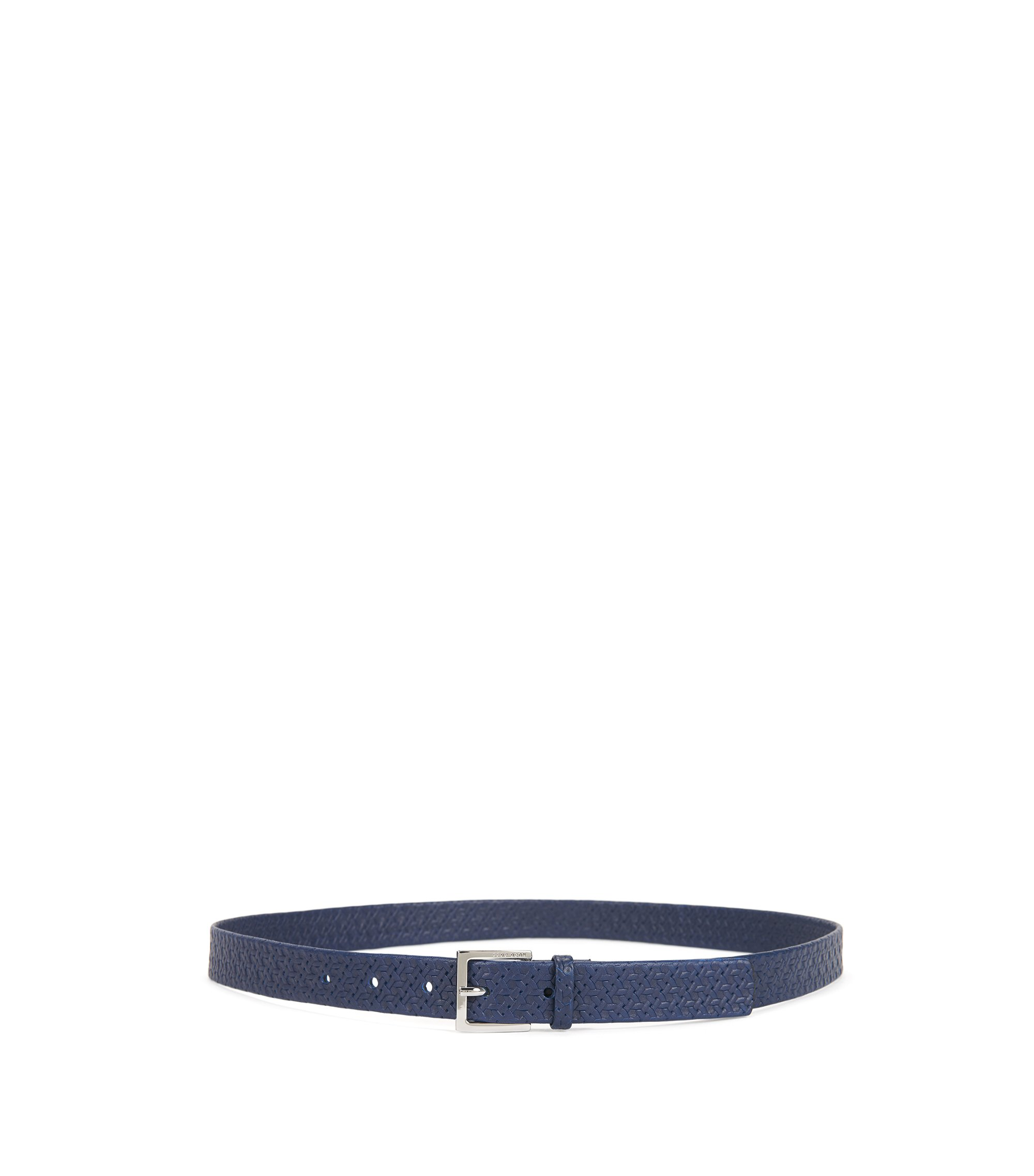 Italian-leather belt with printed woven effect, Blue