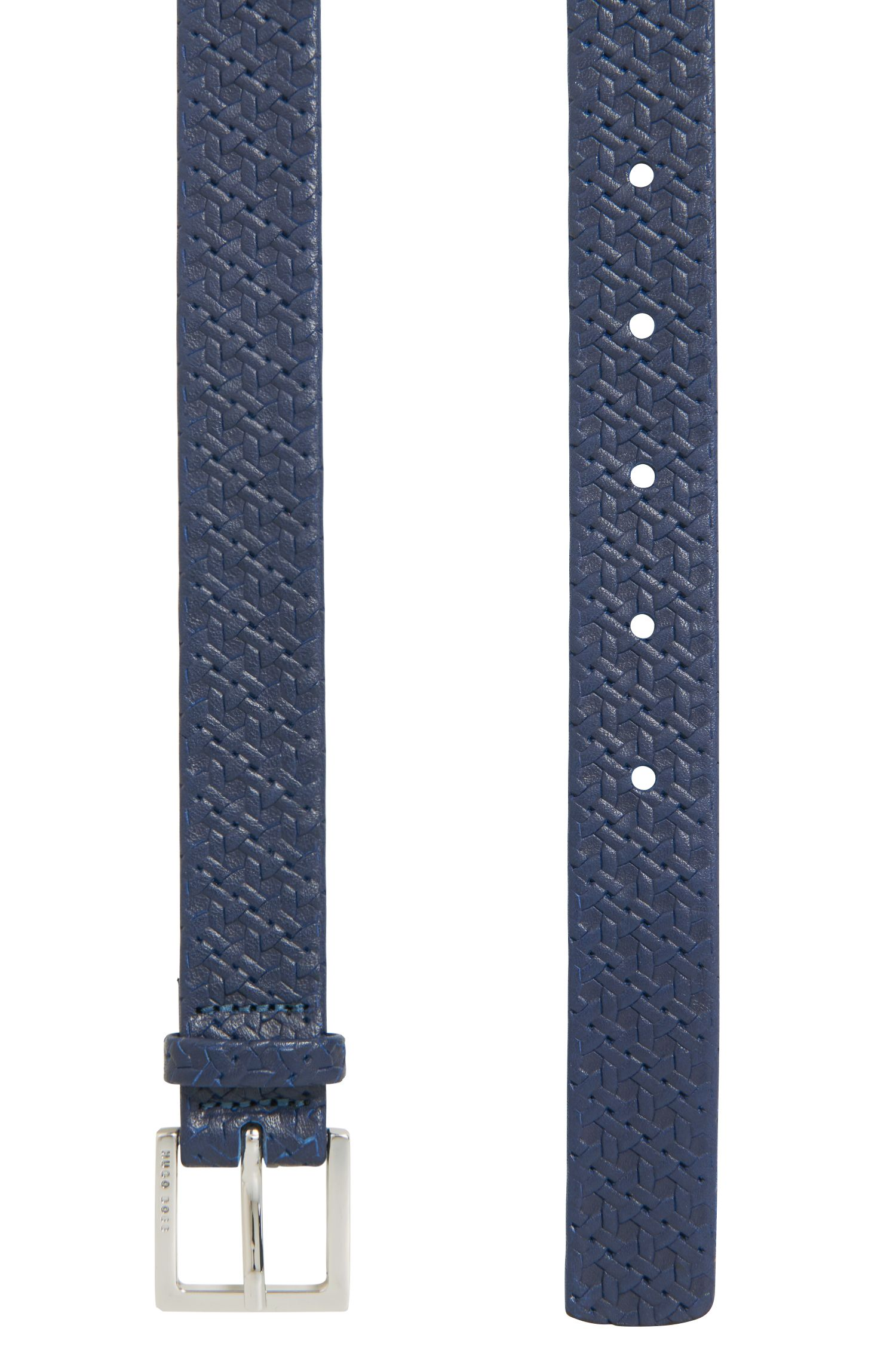 Italian-leather belt with printed woven effect